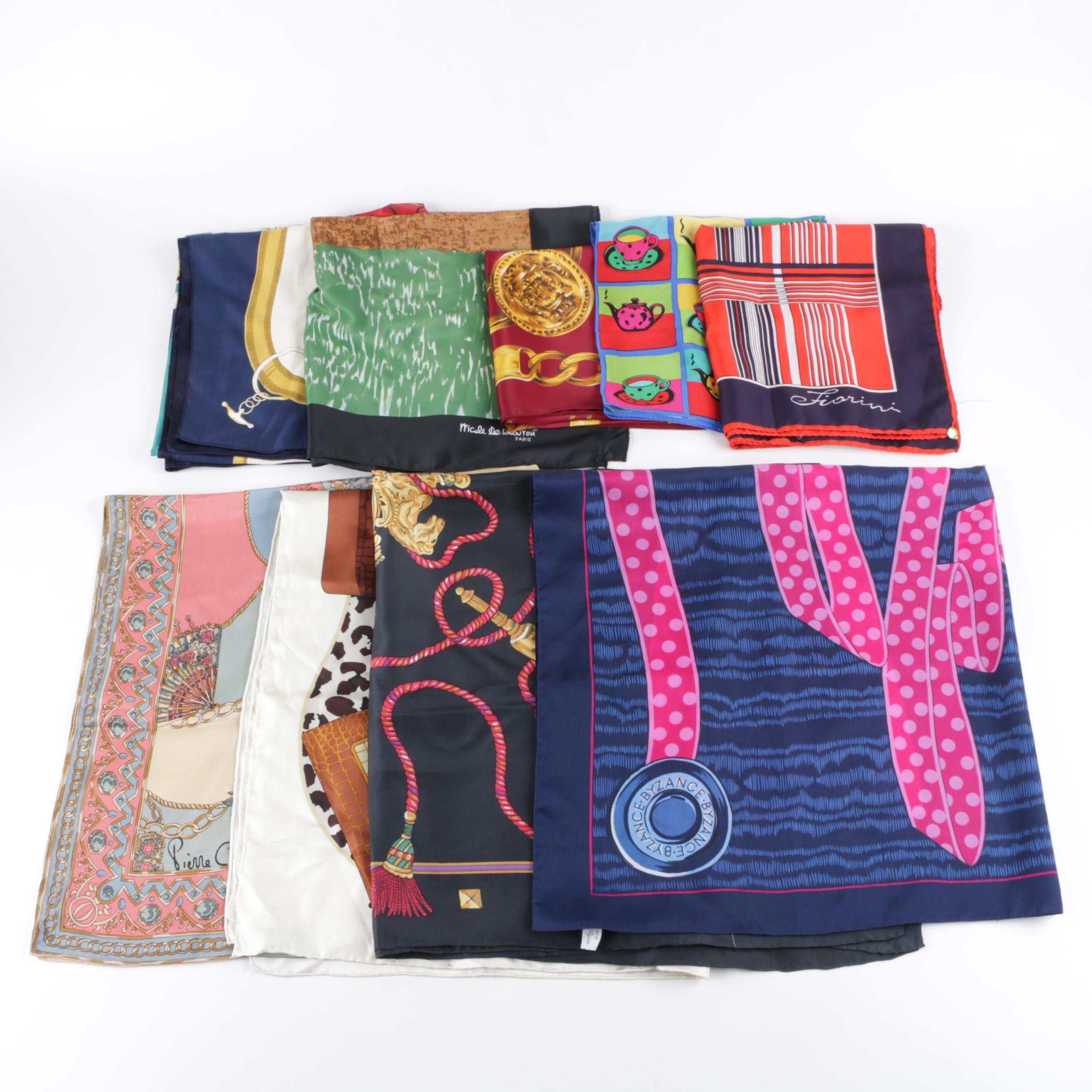 Scarf Collection Including Pierre Cardin and Brahmin Silk Scarves