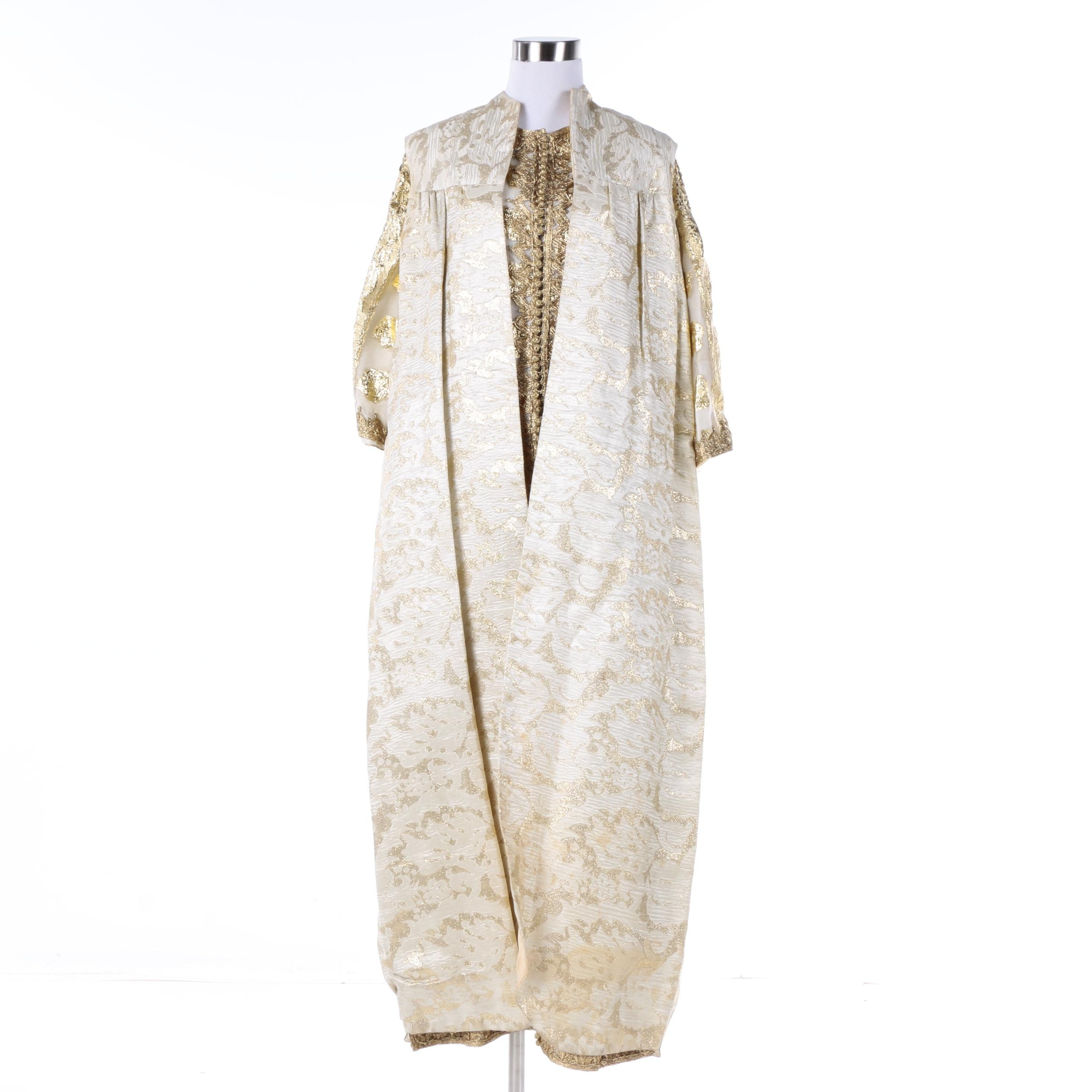 Vintage White and Golden Brocade Thobe Dress and Sleeveless Dress Coat