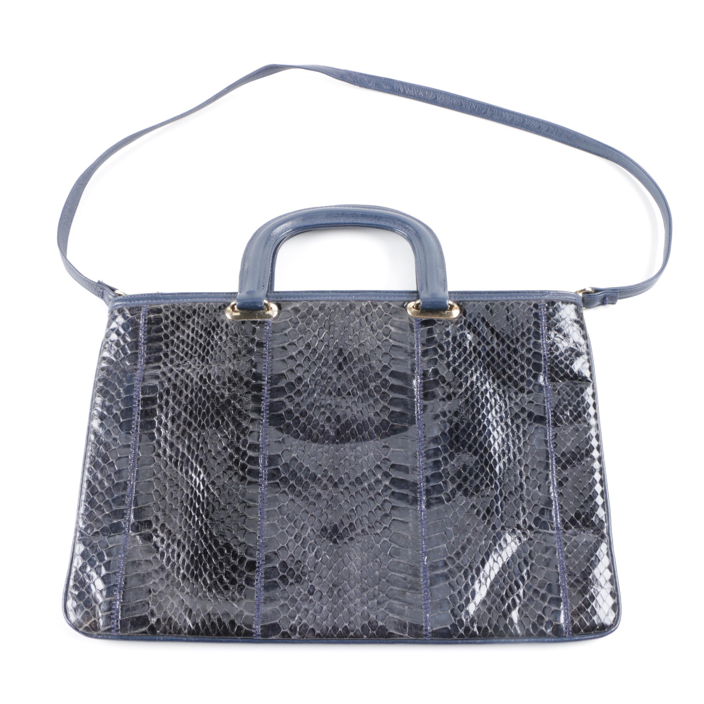 Vintage Palizzio Dyed Blue Snakeskin Handbag