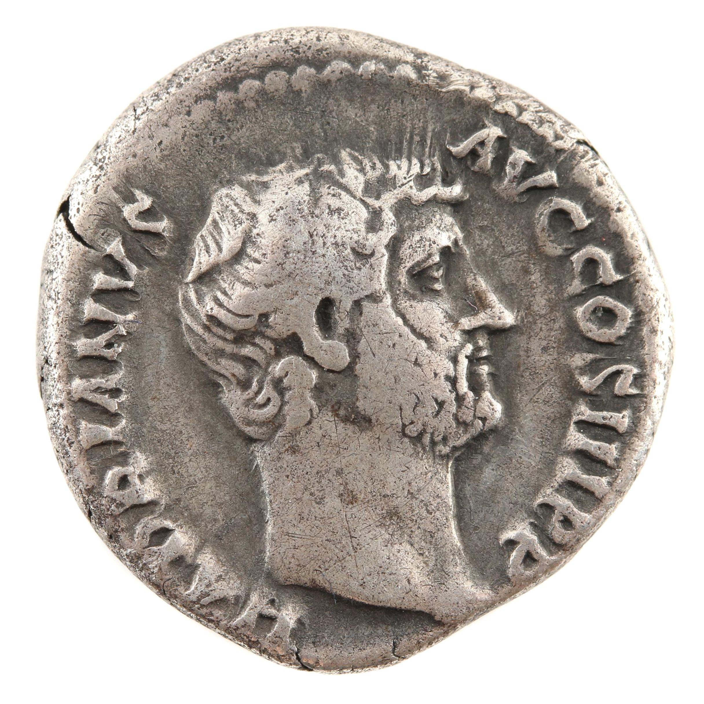 Ancient Roman Silver Denarius Coin Hadrian 117-138 A.D.