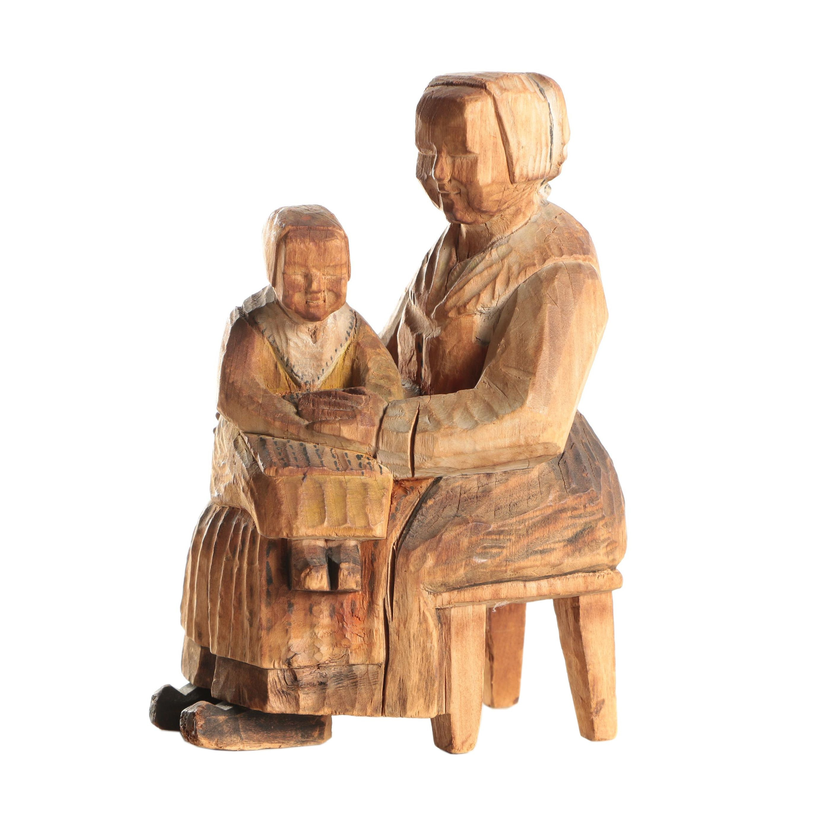 Leksand 1930 Swedish Flat Plane Carving of Mother and Child