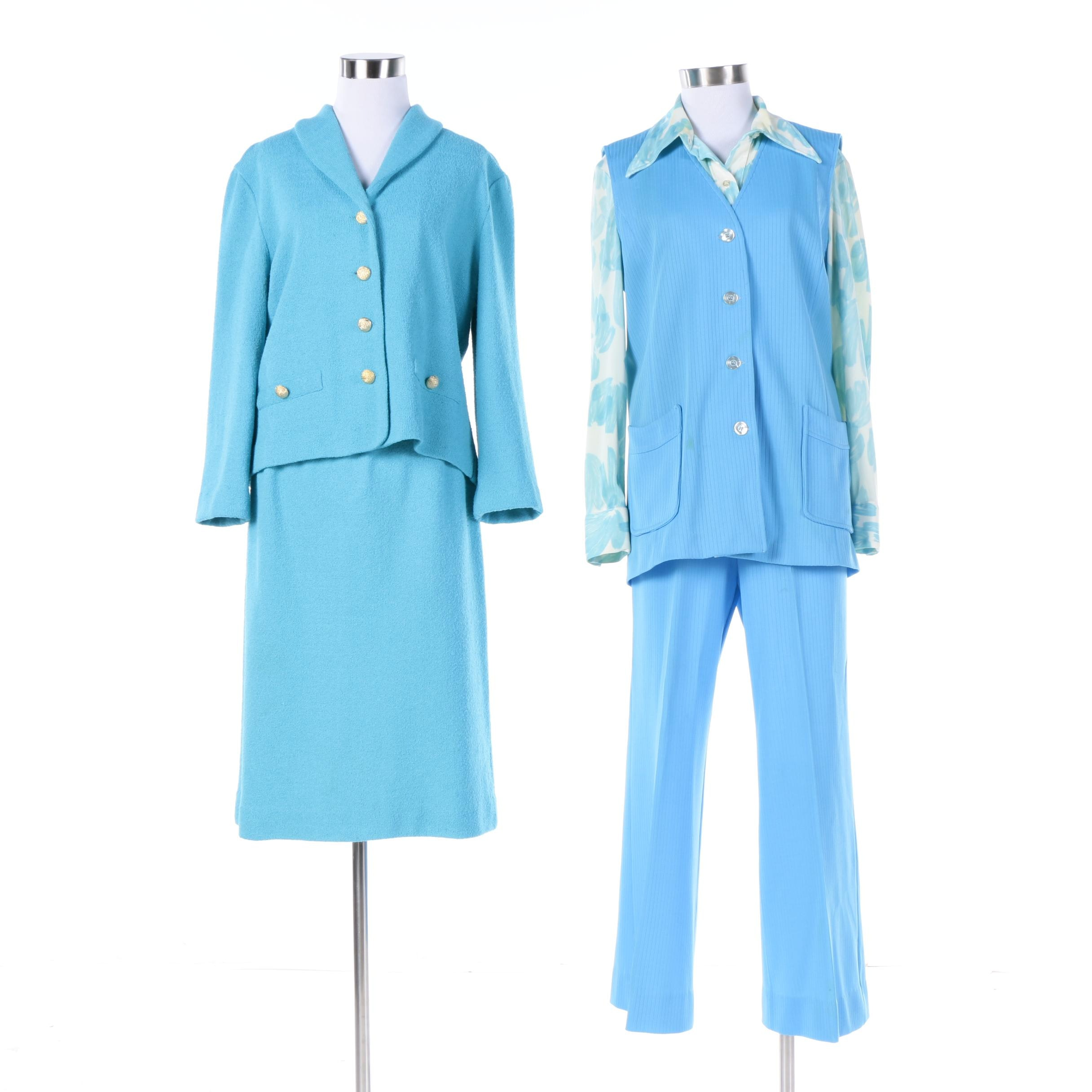 Circa 1970s Vintage Blue Polyester and Wool Suits Including Saks Fifth Avenue