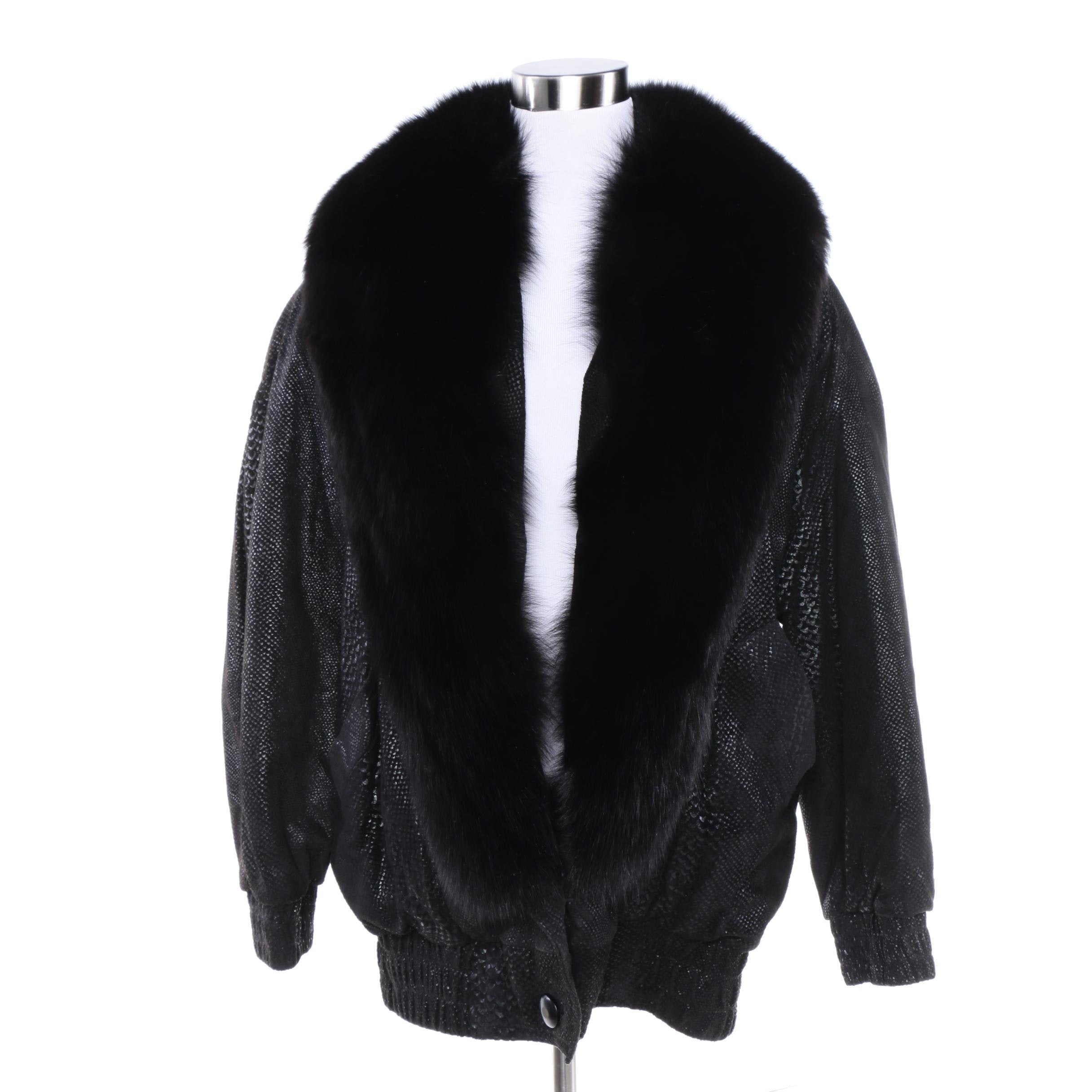 Black Leather Jacket with Dyed Black Fox Fur Trim