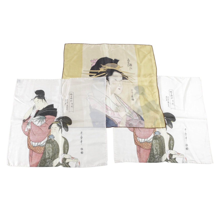 90ee81145e89 Japanese Ukiyo-e Woodblock Themed Silk Scarves   EBTH