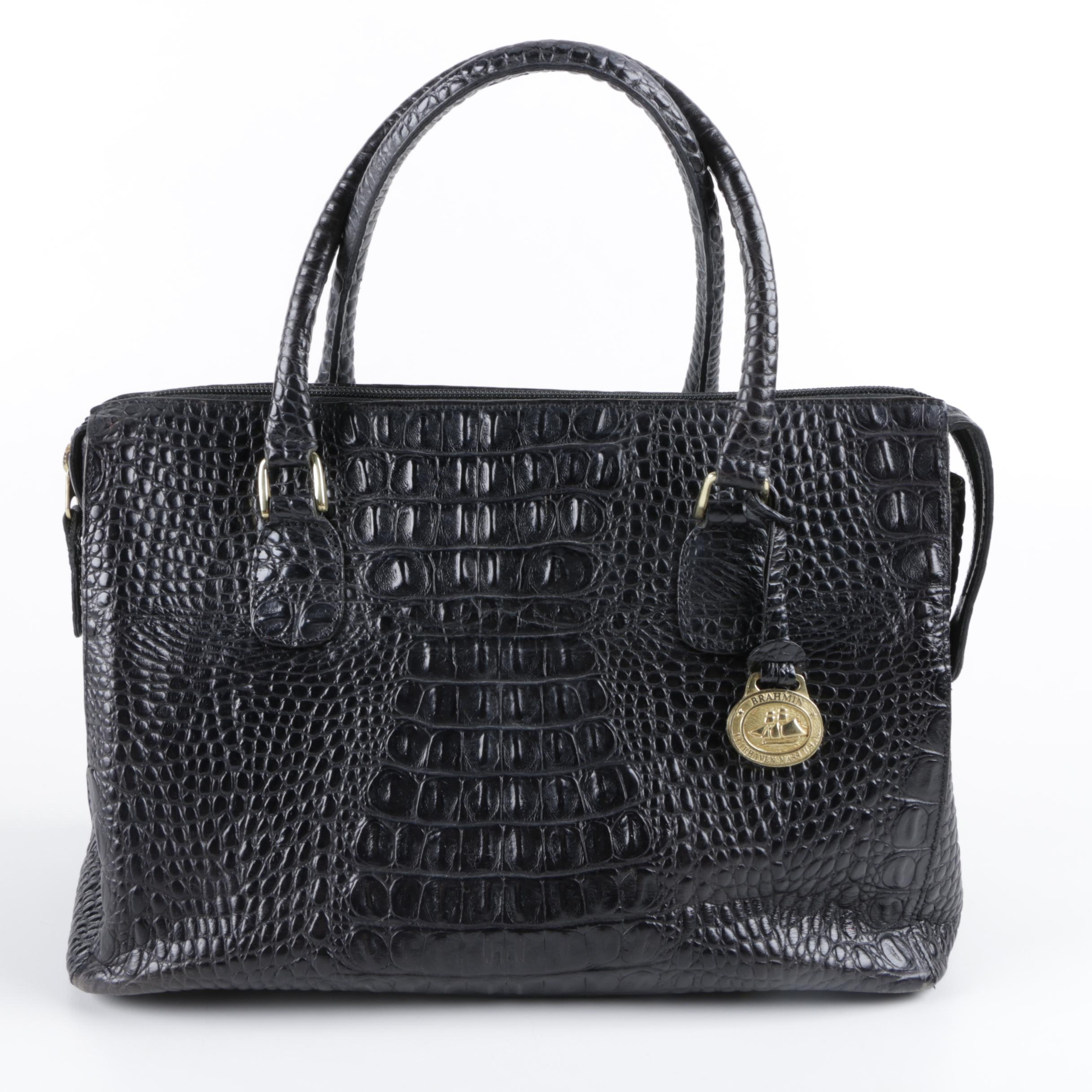 Brahmin Crocodile Embossed Black Leather Handbag
