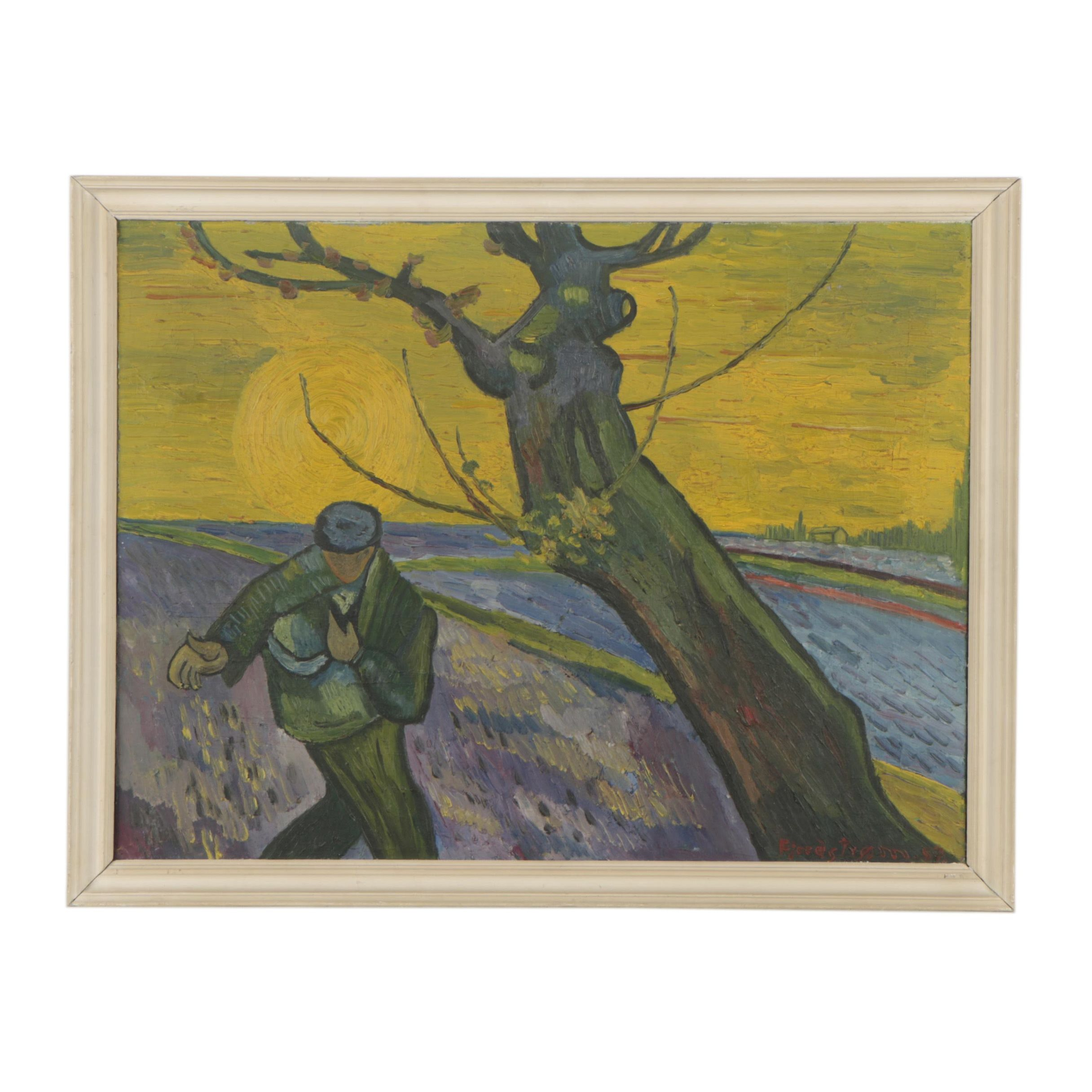 "1957 Copy Oil Painting After Van Gogh's ""The Sower"""