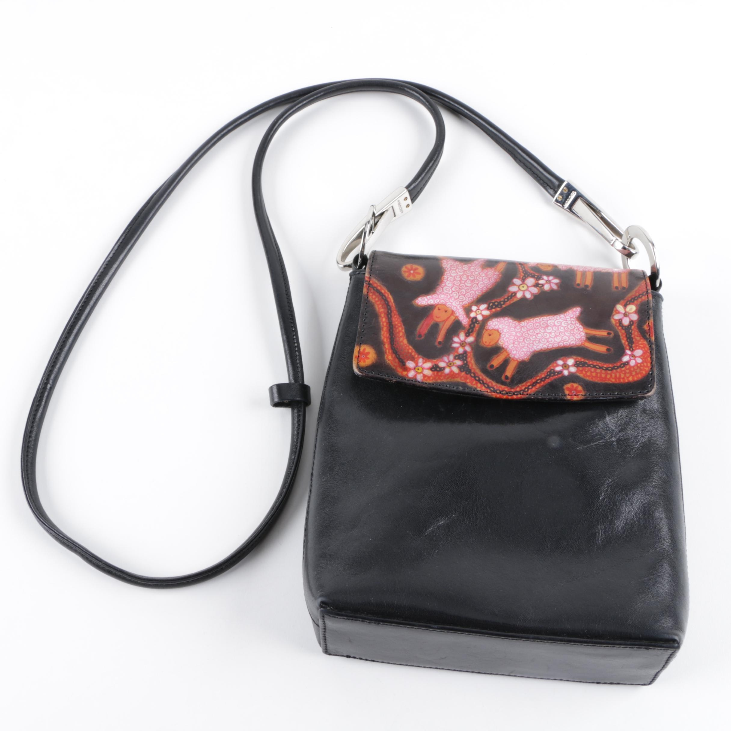 Bambas Leather Crossbody Bag with Sheep Motif