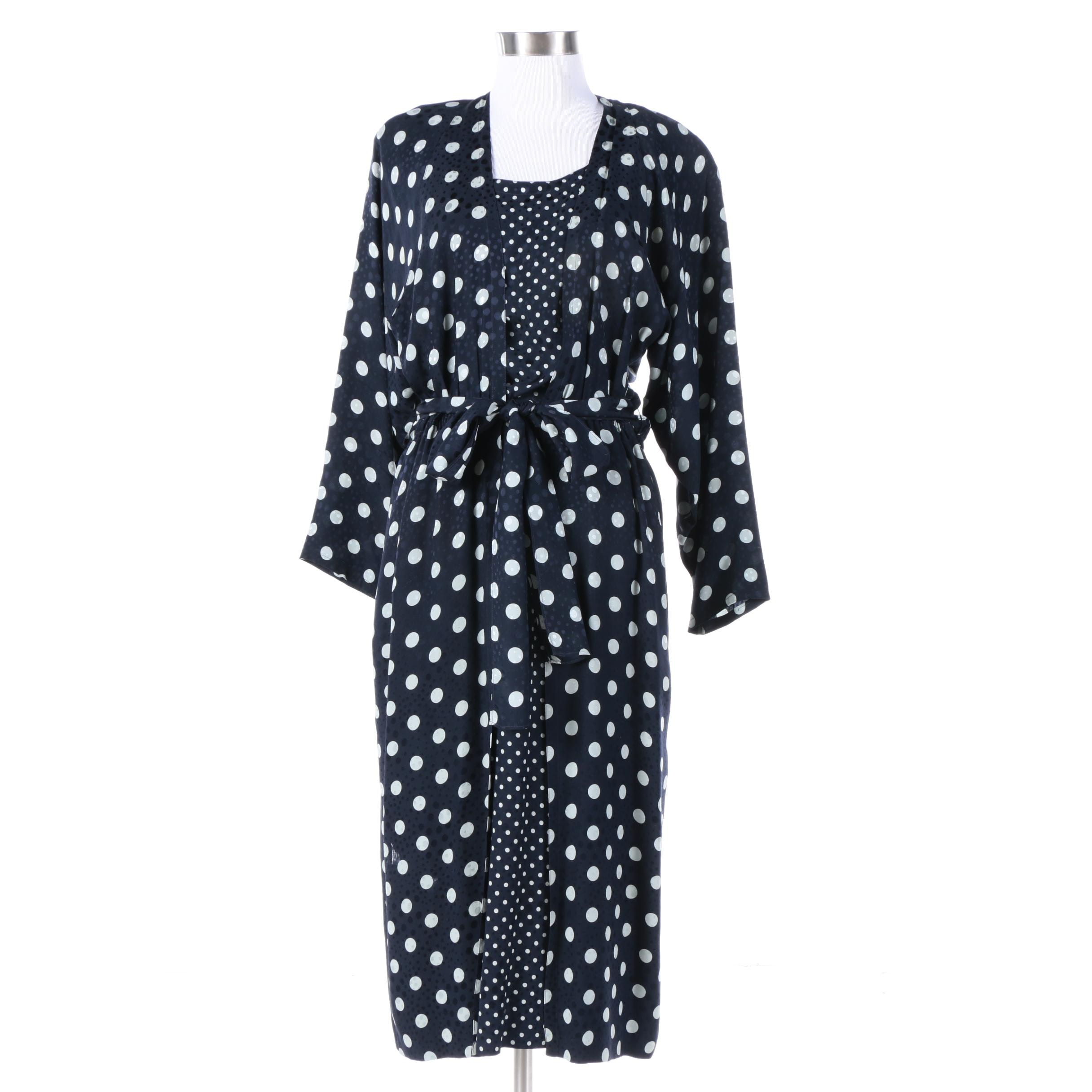 Louis Feraud Navy and White Polka Dot Silk Dress, Made in Germany