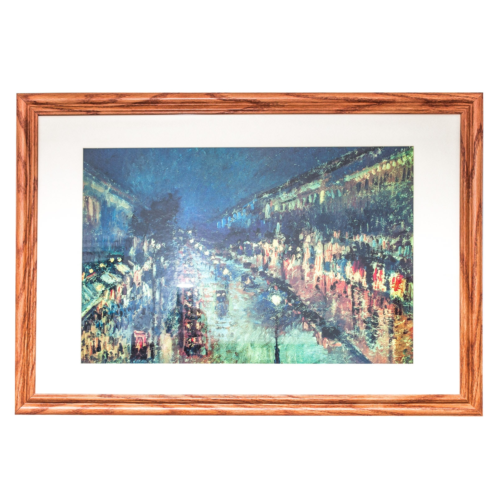 """Offset Lithograph of """"The Boulevard Montmartre at Night"""" After Camille Pissarro"""