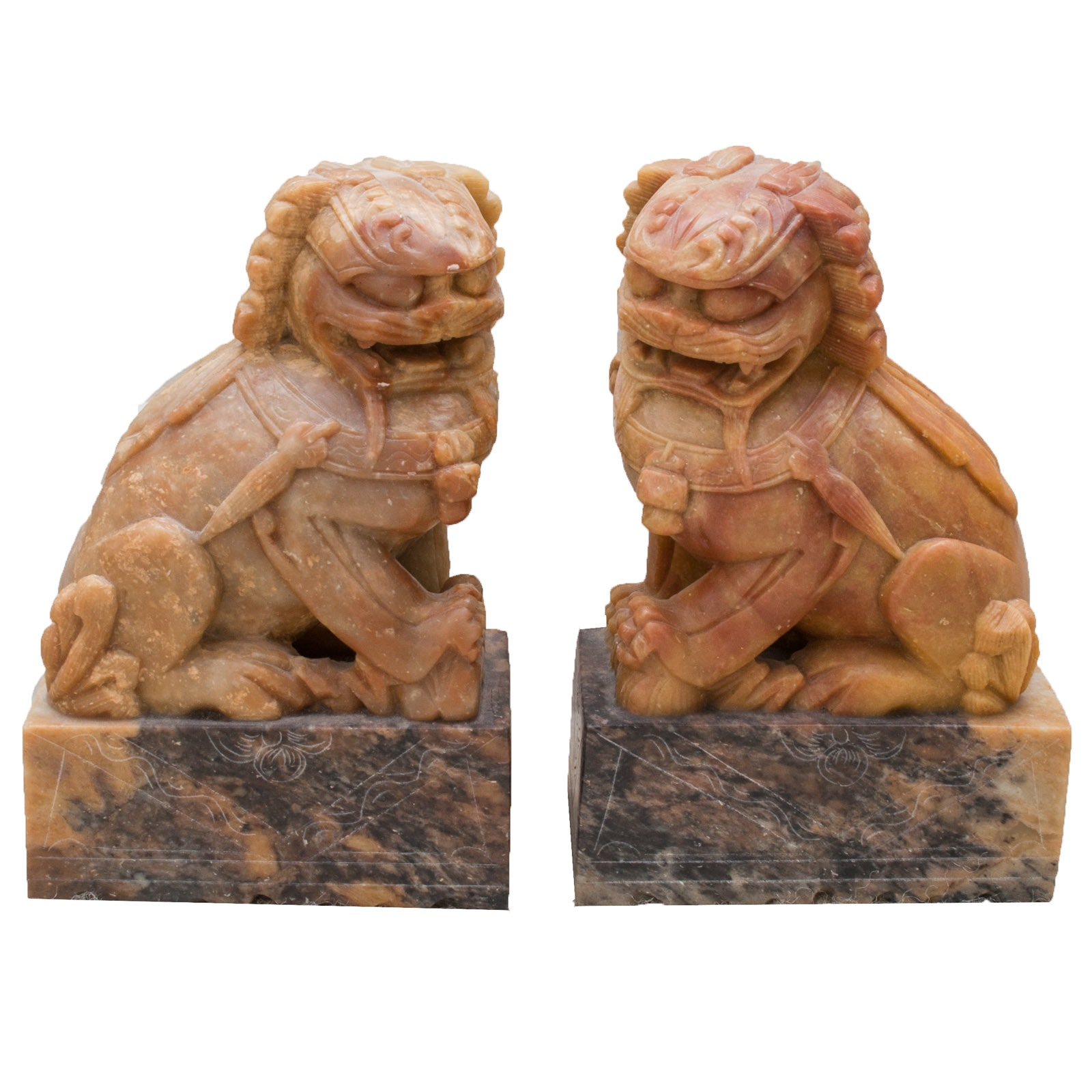 Chinese Carved Soapstone Guardian Lion Bookends
