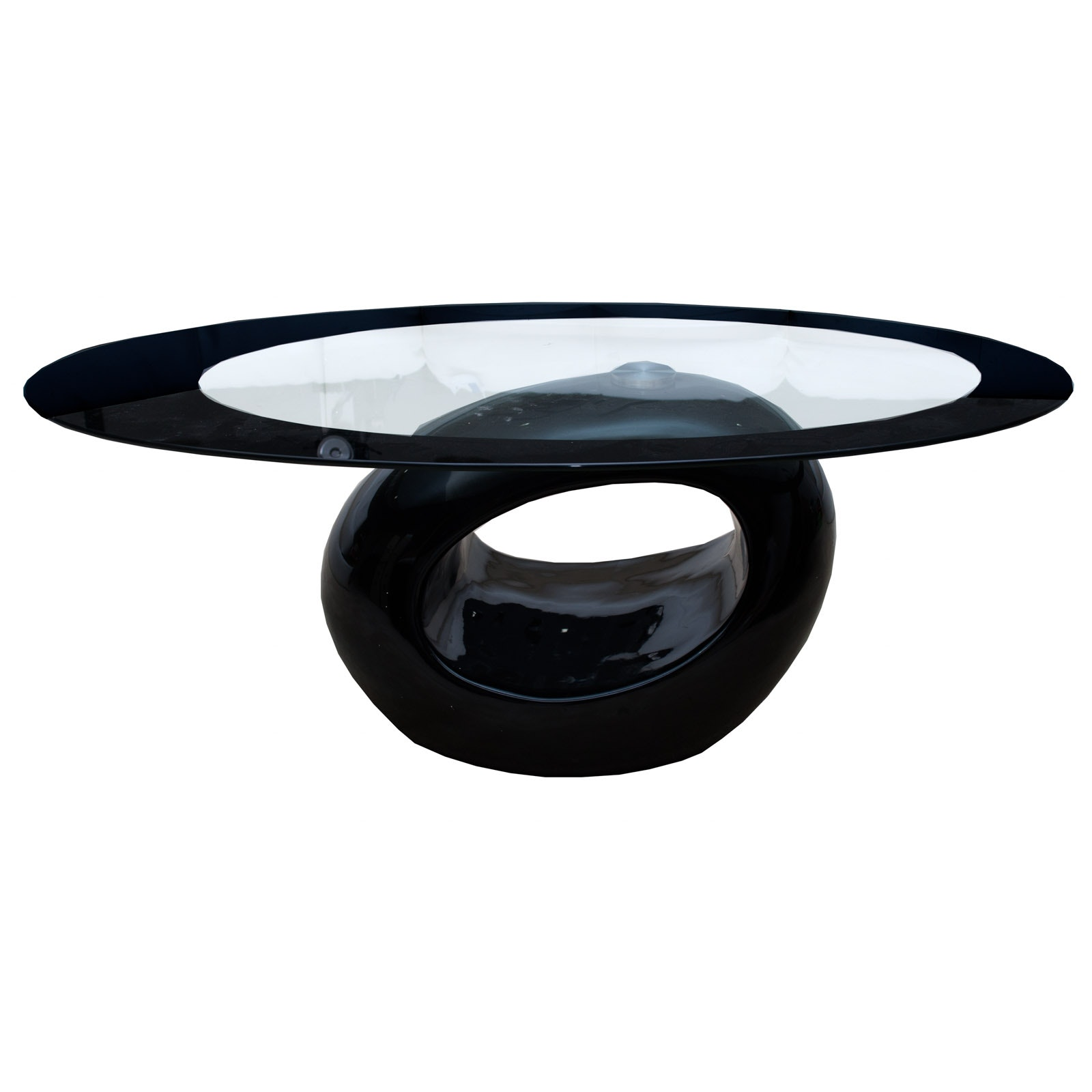 Contemporary Modern Style Oval Glass Coffee Table