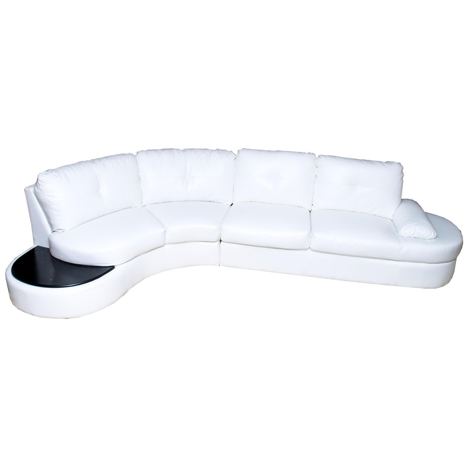 Contemporary Divani Casa White Eco-Leather Sectional Sofa