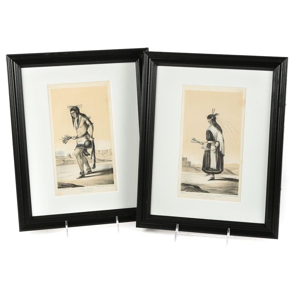 "After R.H. Kern Antique Lithographs ""Buffalo Dance"""