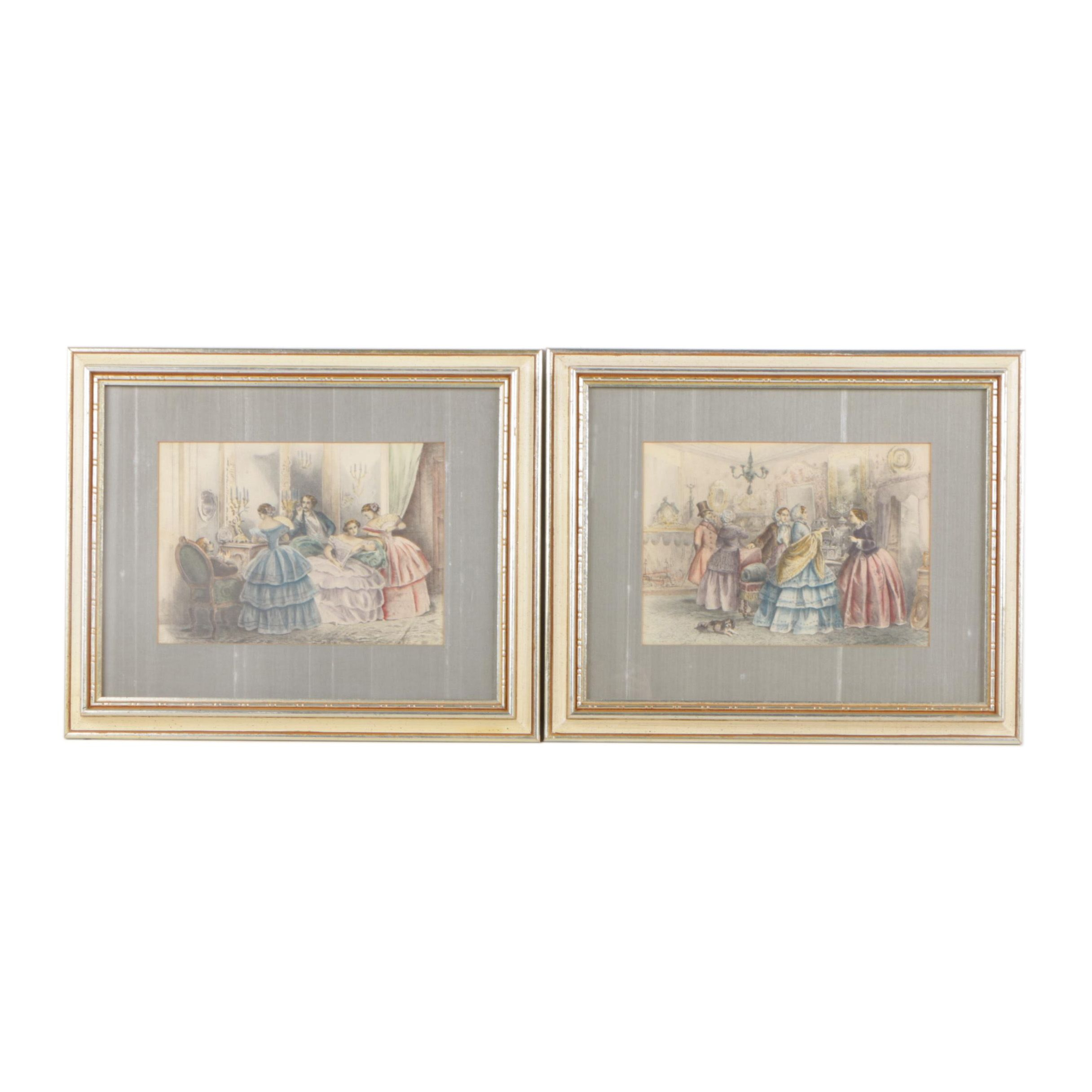 Hand Colored Halftone Prints After 19th Century Fashion Plates