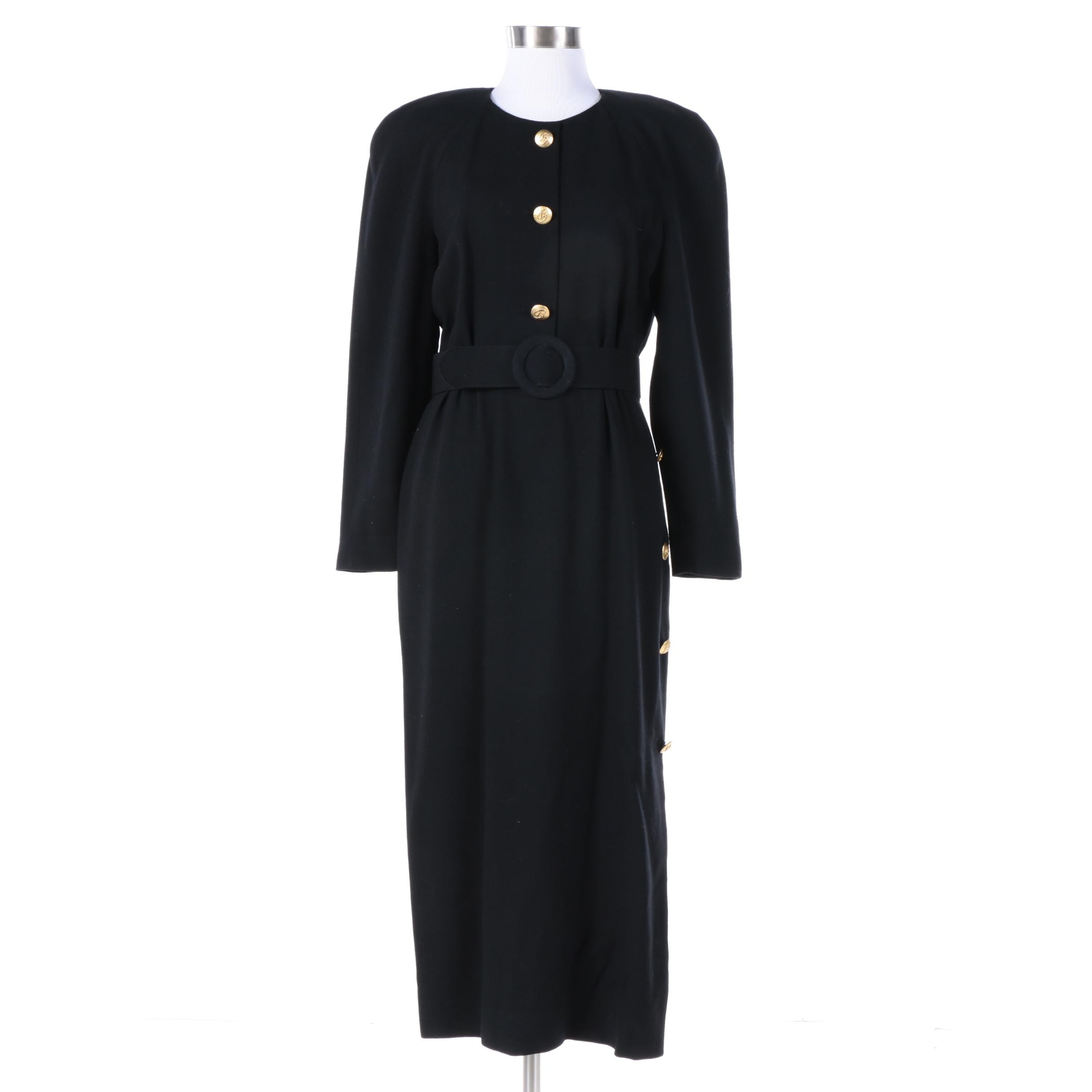 Vintage Scaasi Black Wool Dress