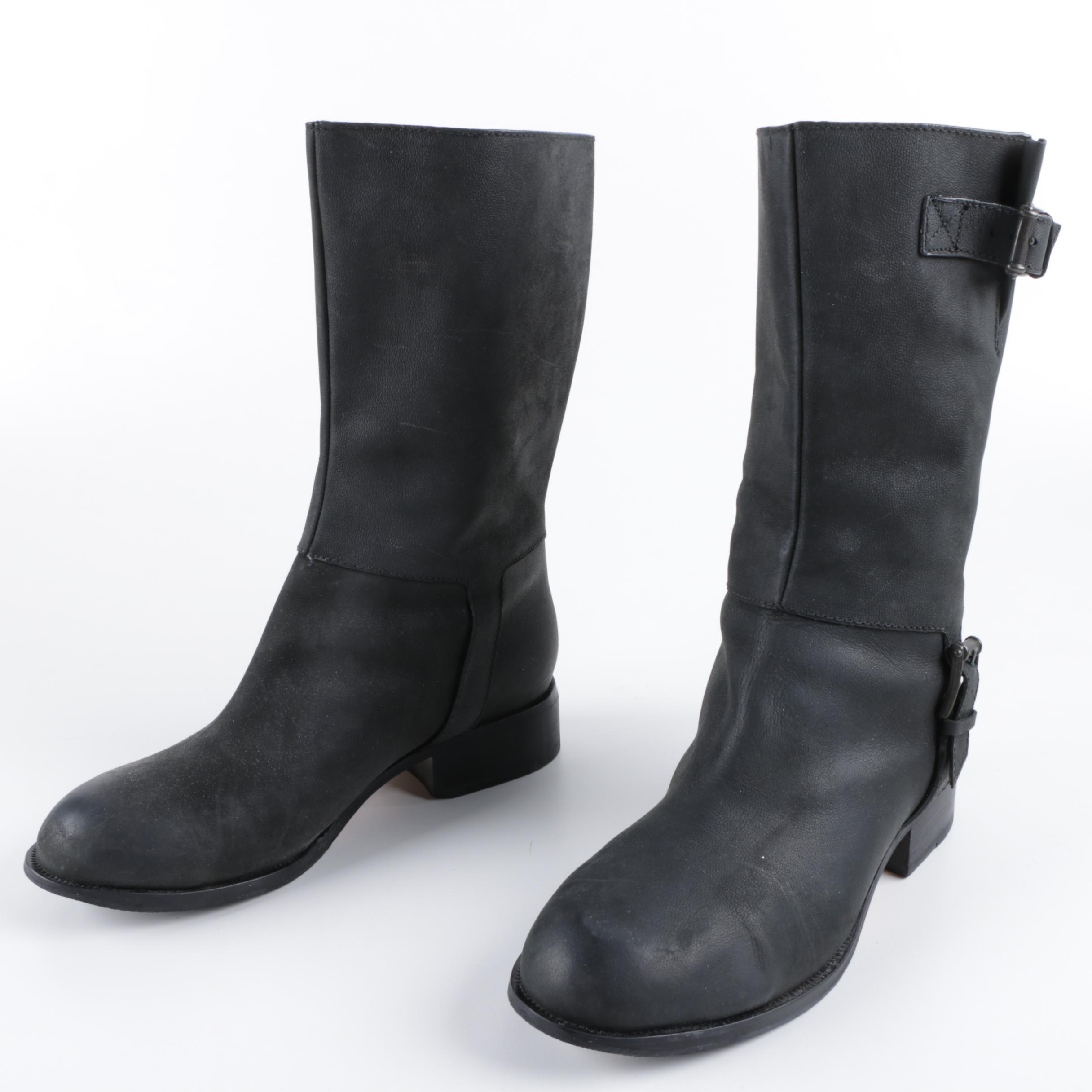 Cole Haan Leora Black Leather Boots with Buckle Straps