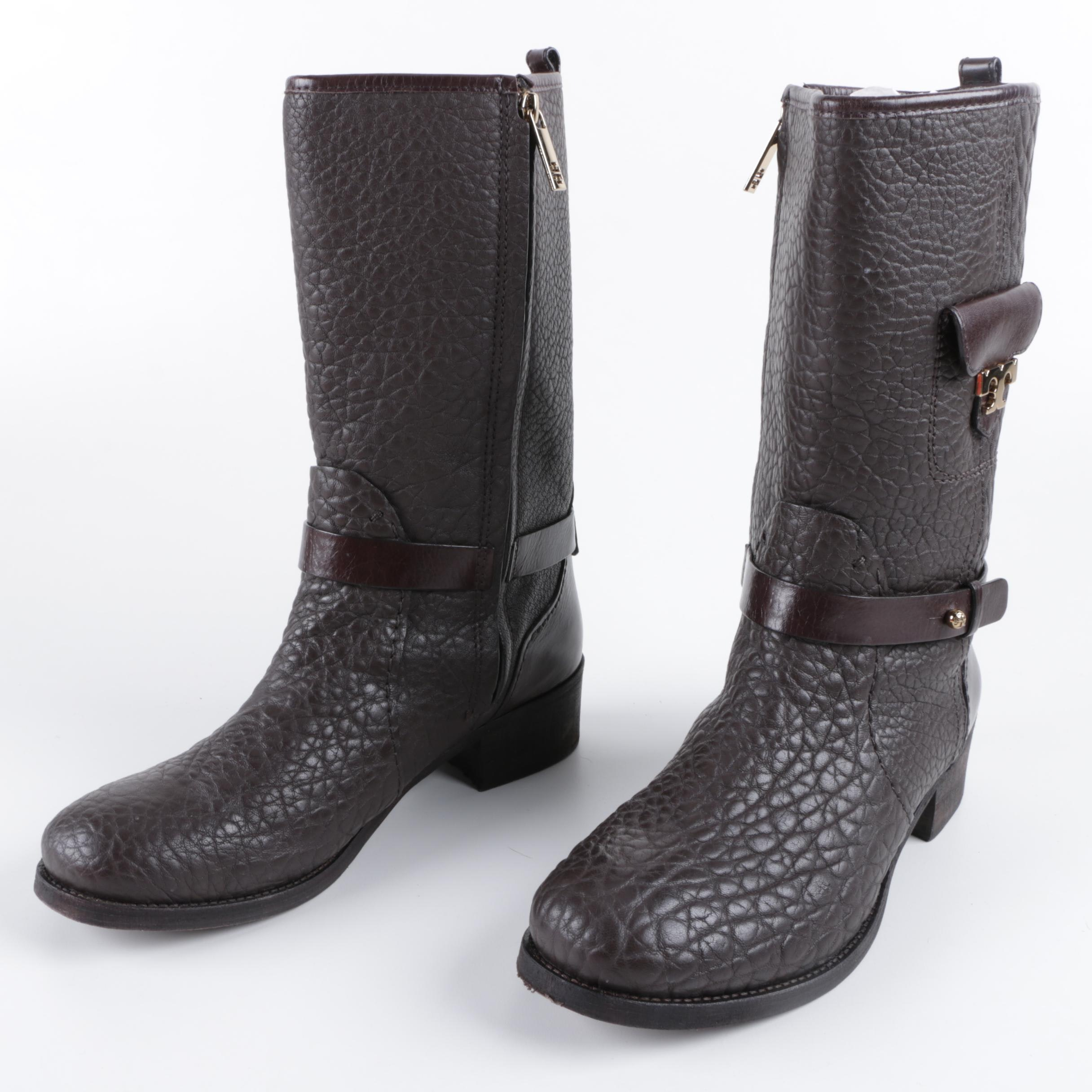Tory Burch Leona Brown Leather Boots with Side Pocket