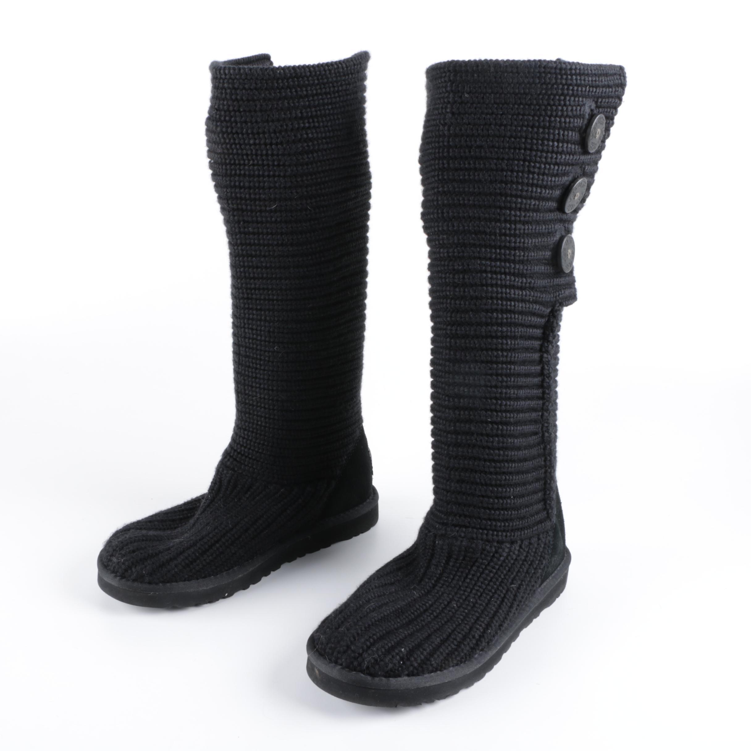 UGG Australia Classic Cardy Black Knit Boots with Sheepskin Lining