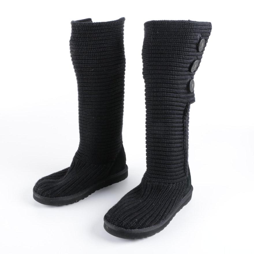 UGG Australia Classic Cardy Black Knit Boots with Sheepskin Lining   EBTH 923ccf911
