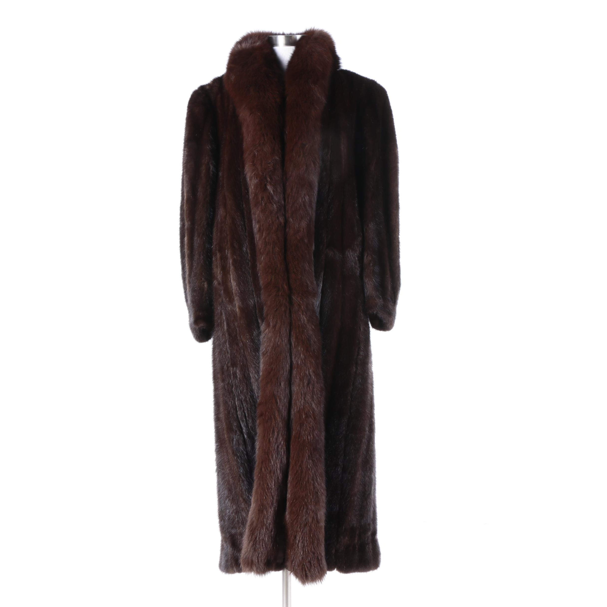 The Evan's Collection Full-Length Dark Brown Mink Fur Coat With Fox Fur Trim