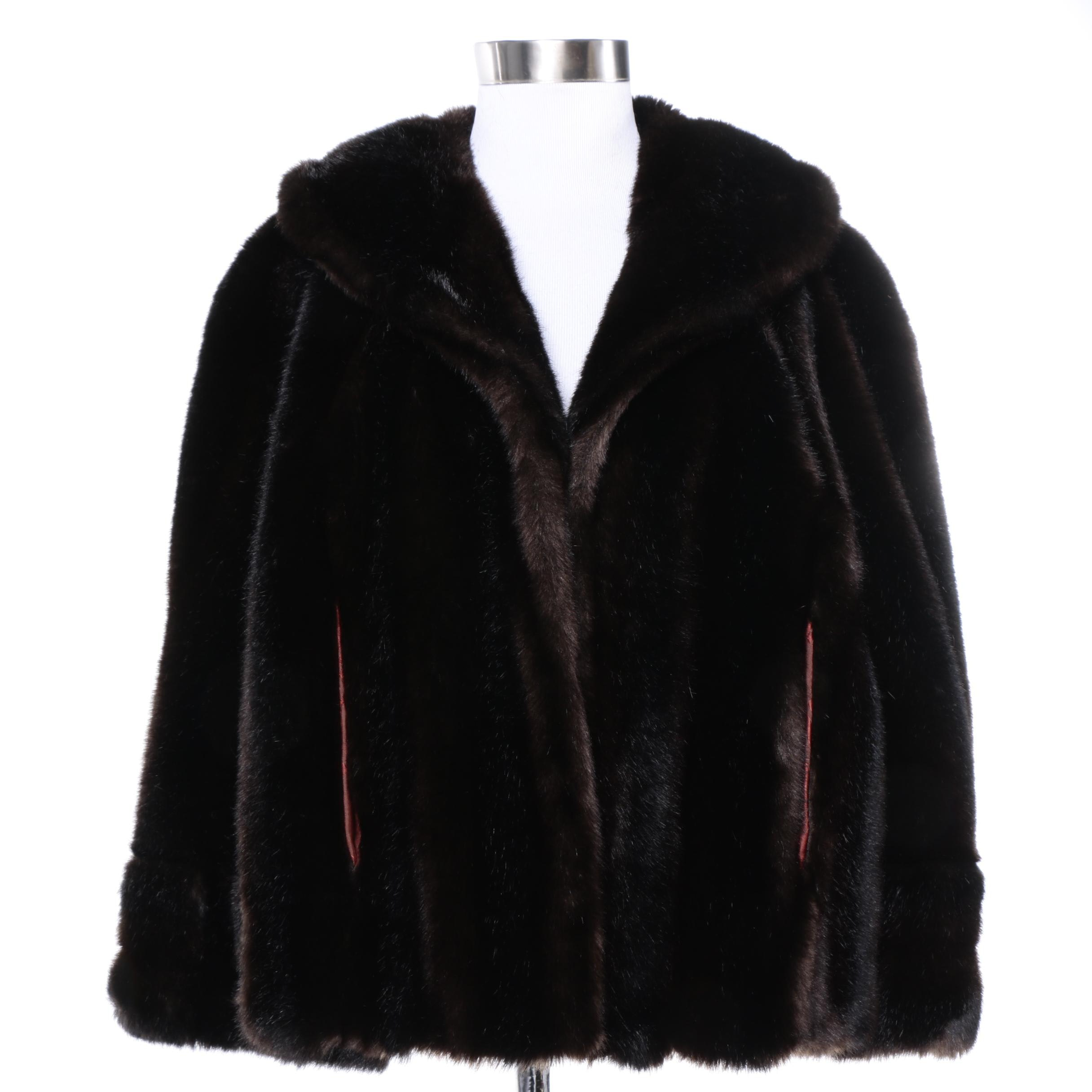 Vintage Faux Fur Capelet with Shawl Collar
