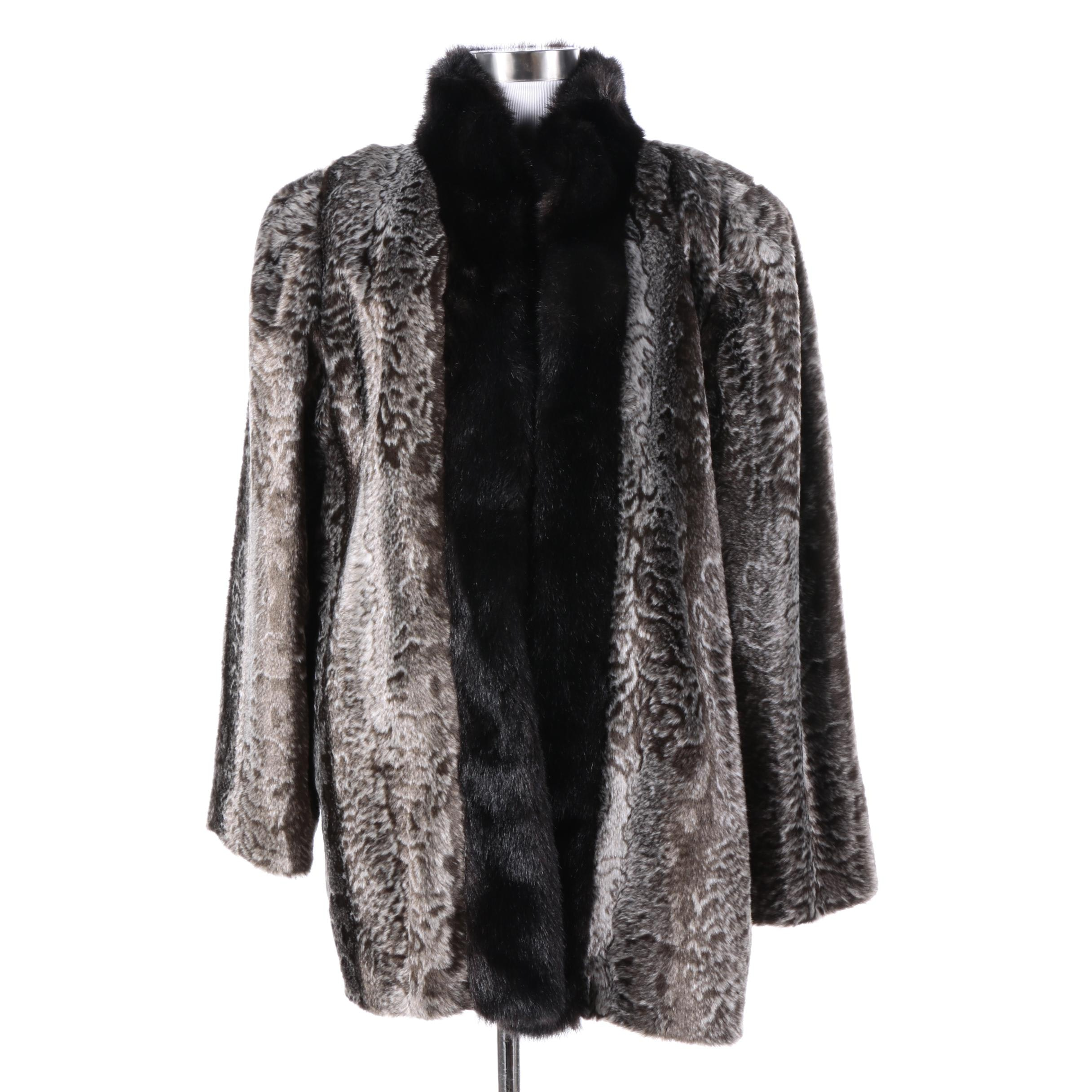 Women's Faux Fur Coat Resembling Broadtail Lamb and Mink