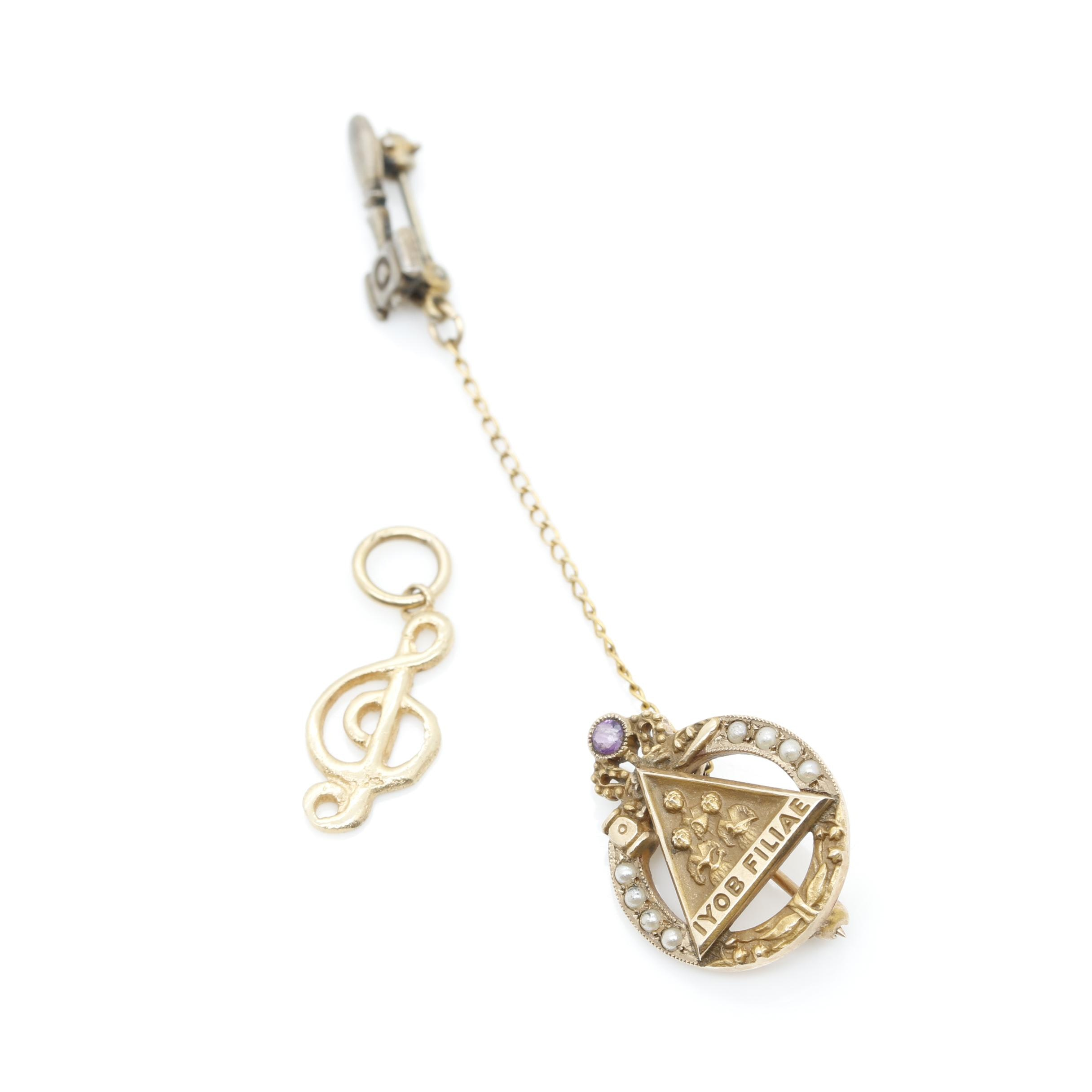 10K Gold and Sterling Silver Amethyst and Imitation Pearl Pin and 14K Charm