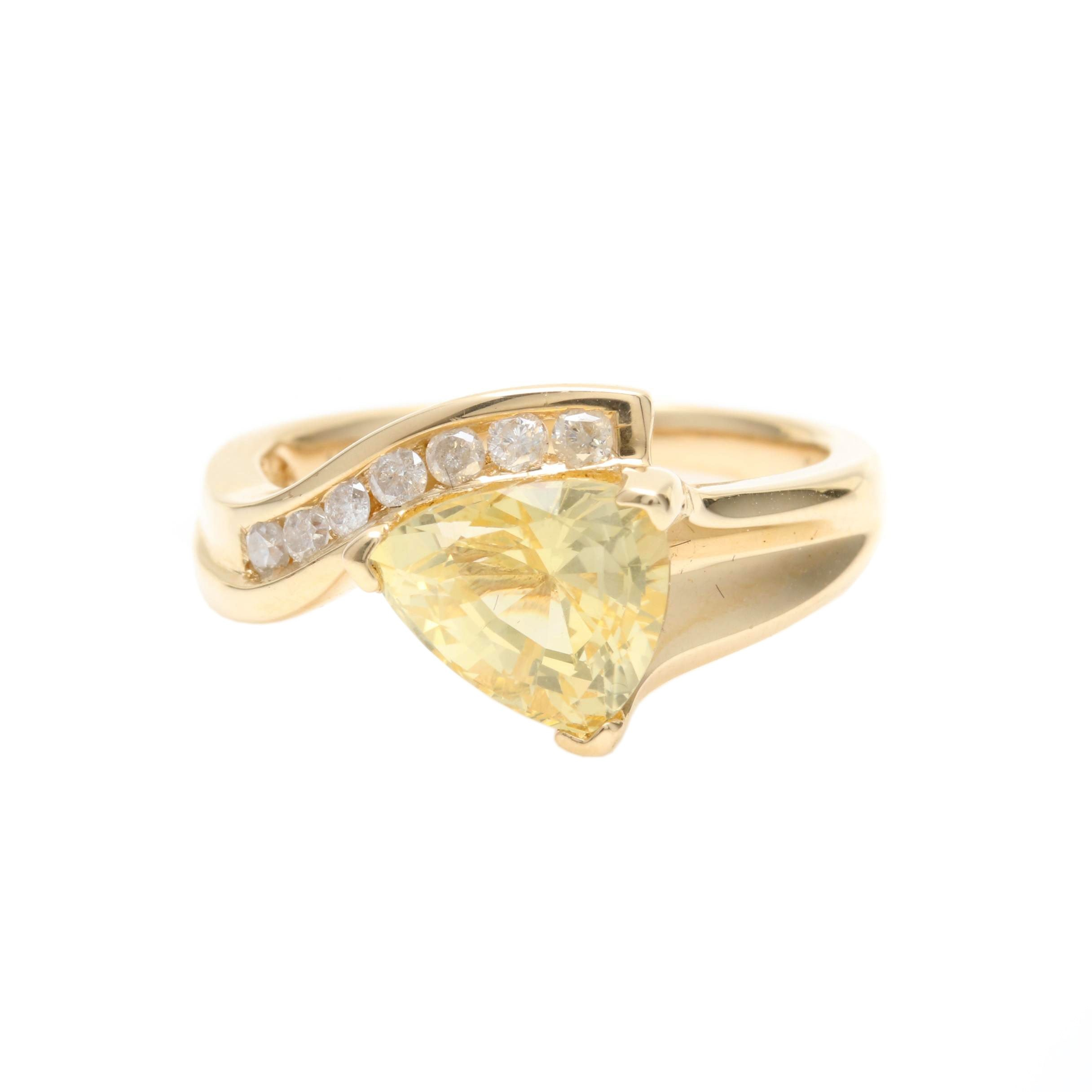 14K Yellow Gold 2.99 CT Sapphire and Diamond Ring Including GIA Certificate