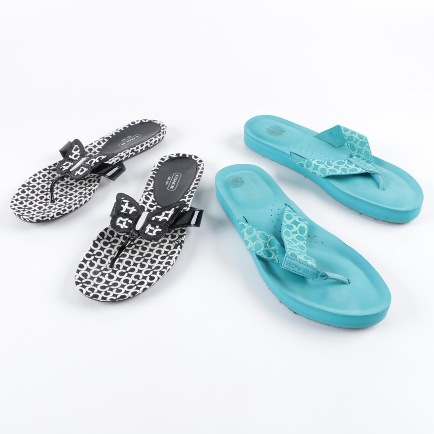 4b794e59a Coach Jessalyn and Petra Signature Flip Flops   EBTH