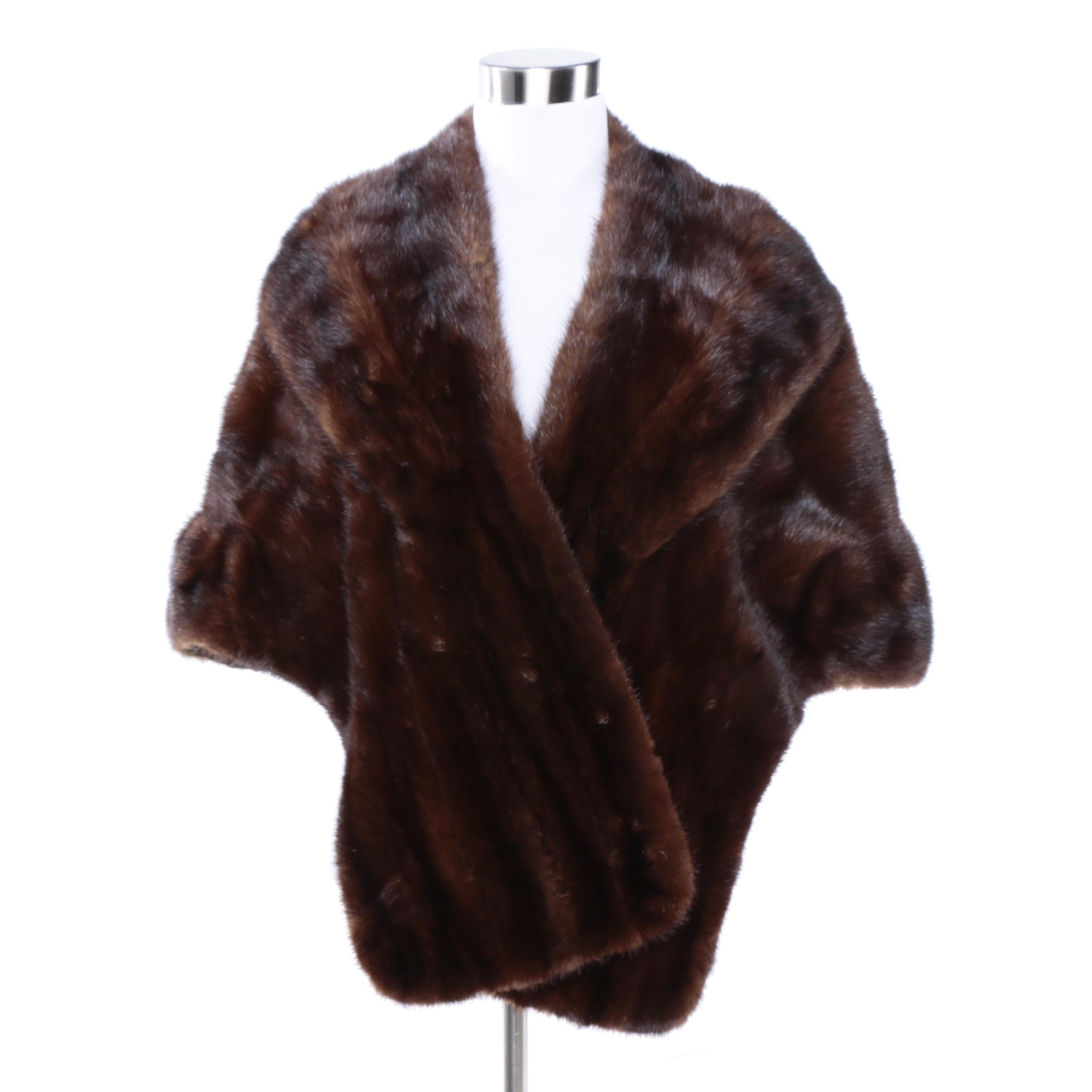 Vintage H. Wenc Dark Mahogany Mink Fur Stole with Floral Lining