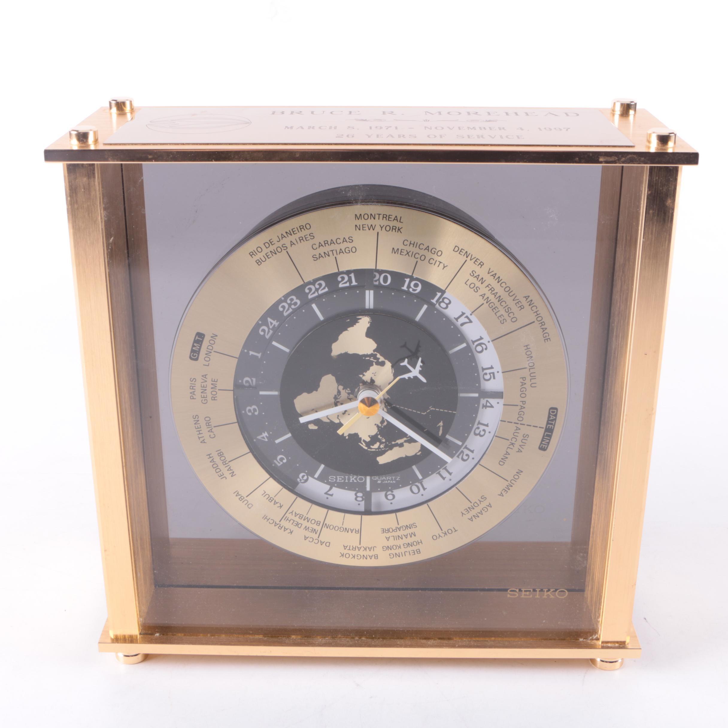 Seiko World Time Airplane Desk Clock