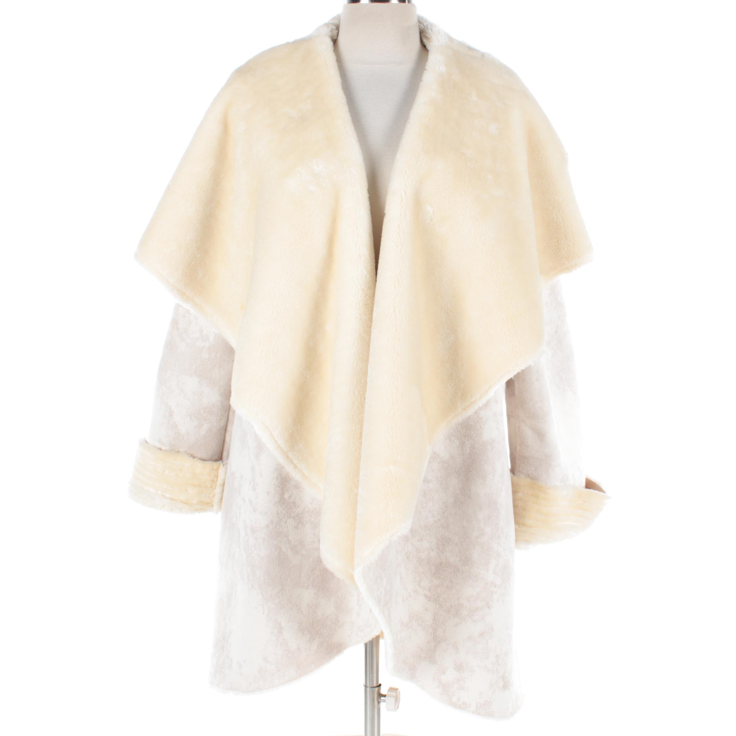Women's Shawl Collar Suede Jacket with Faux Fur Lining
