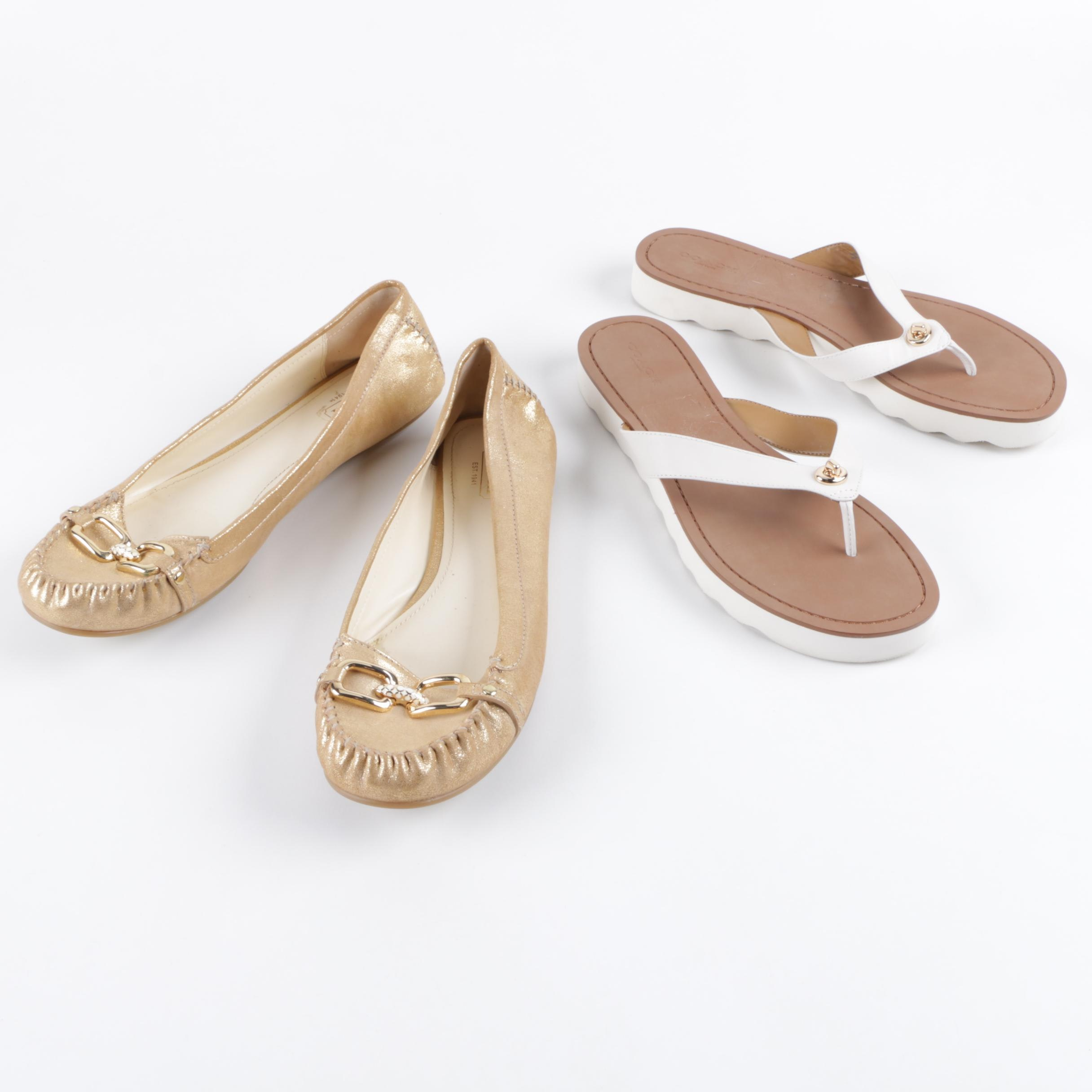 Coach Flynn Leather Loafers and Coach Shelly Leather Thong Sandals