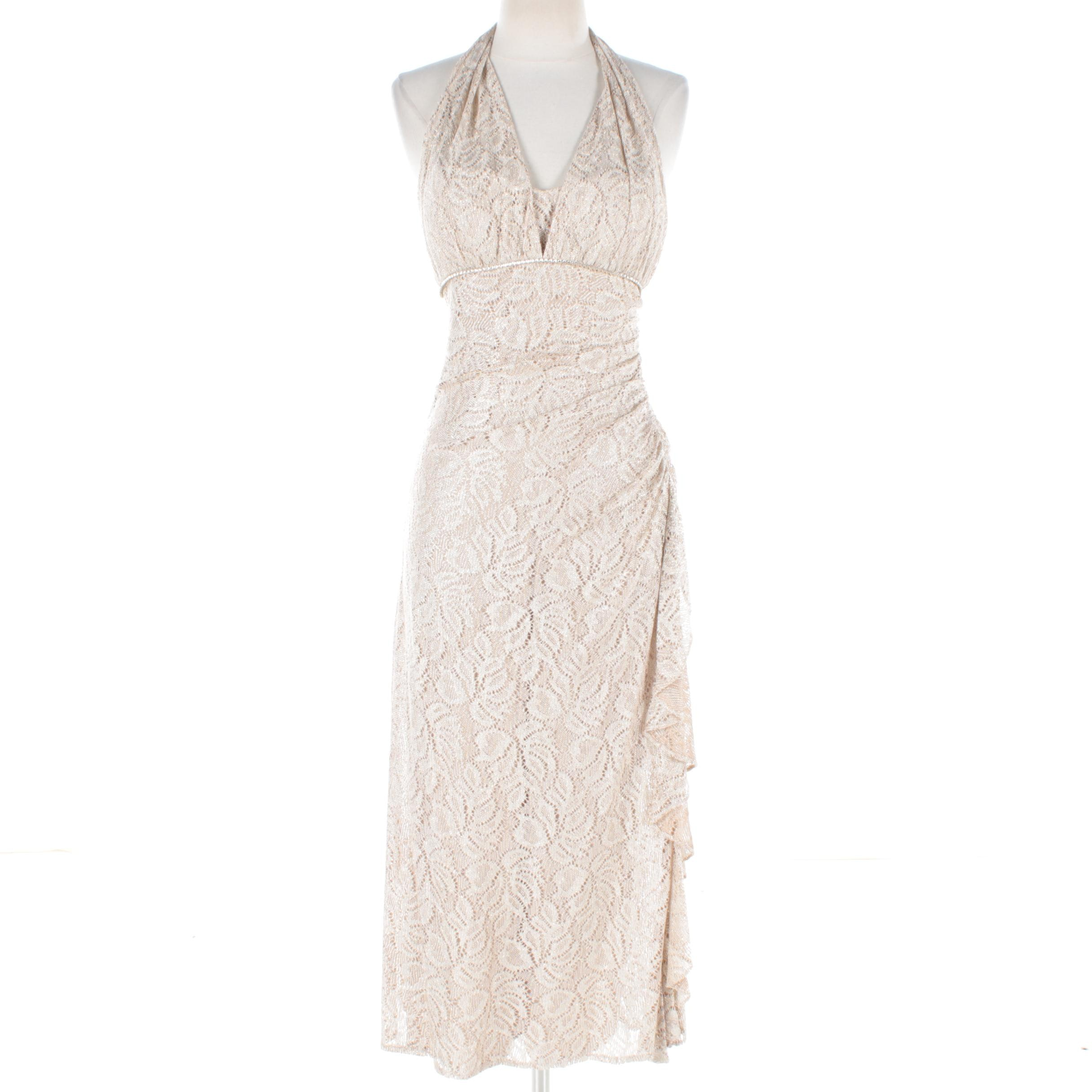 Betsy & Adam by Linda Bernell Cream-Colored Crochet Knit Halter Dress