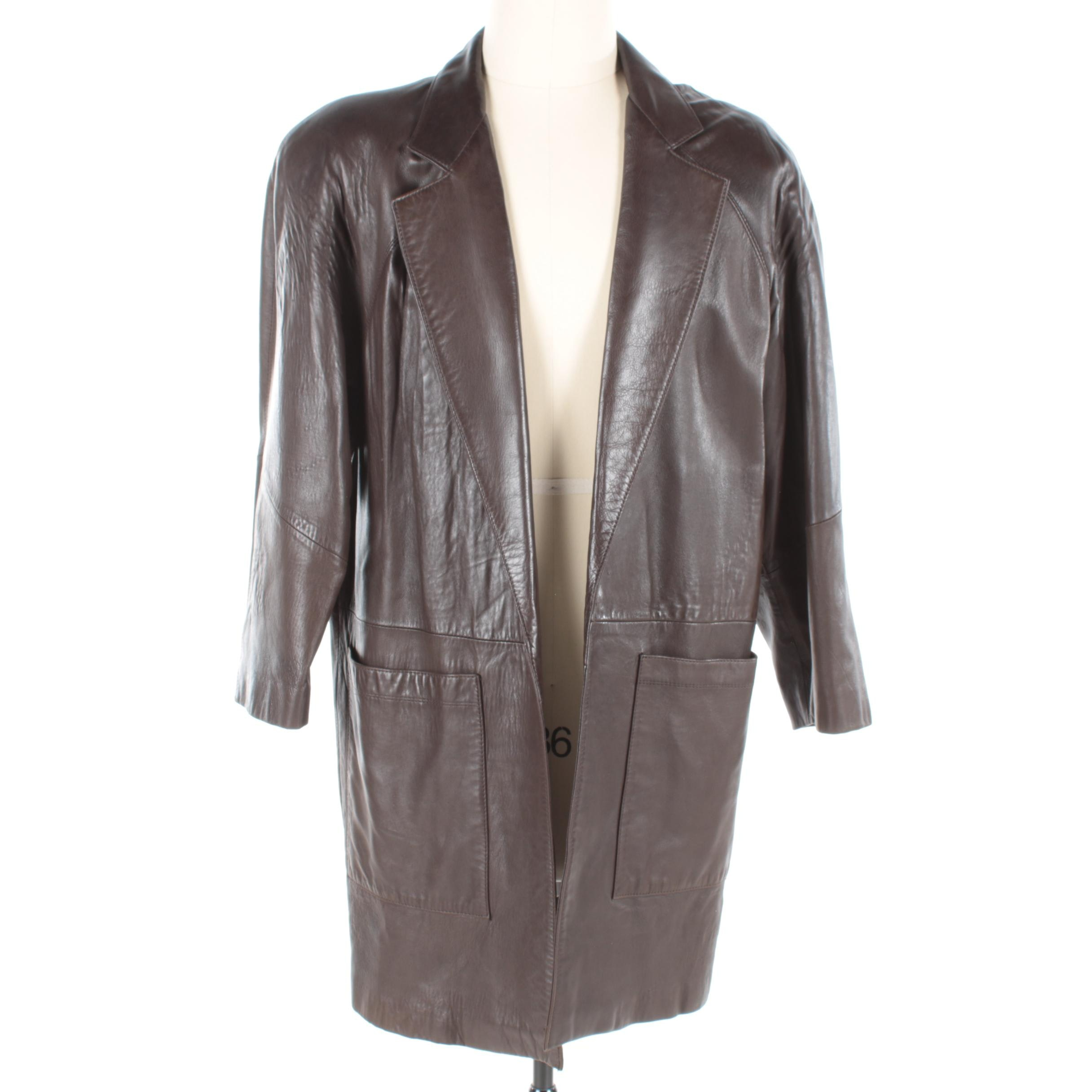 Women's Andrew Marc Chocolate Brown Leather Jacket