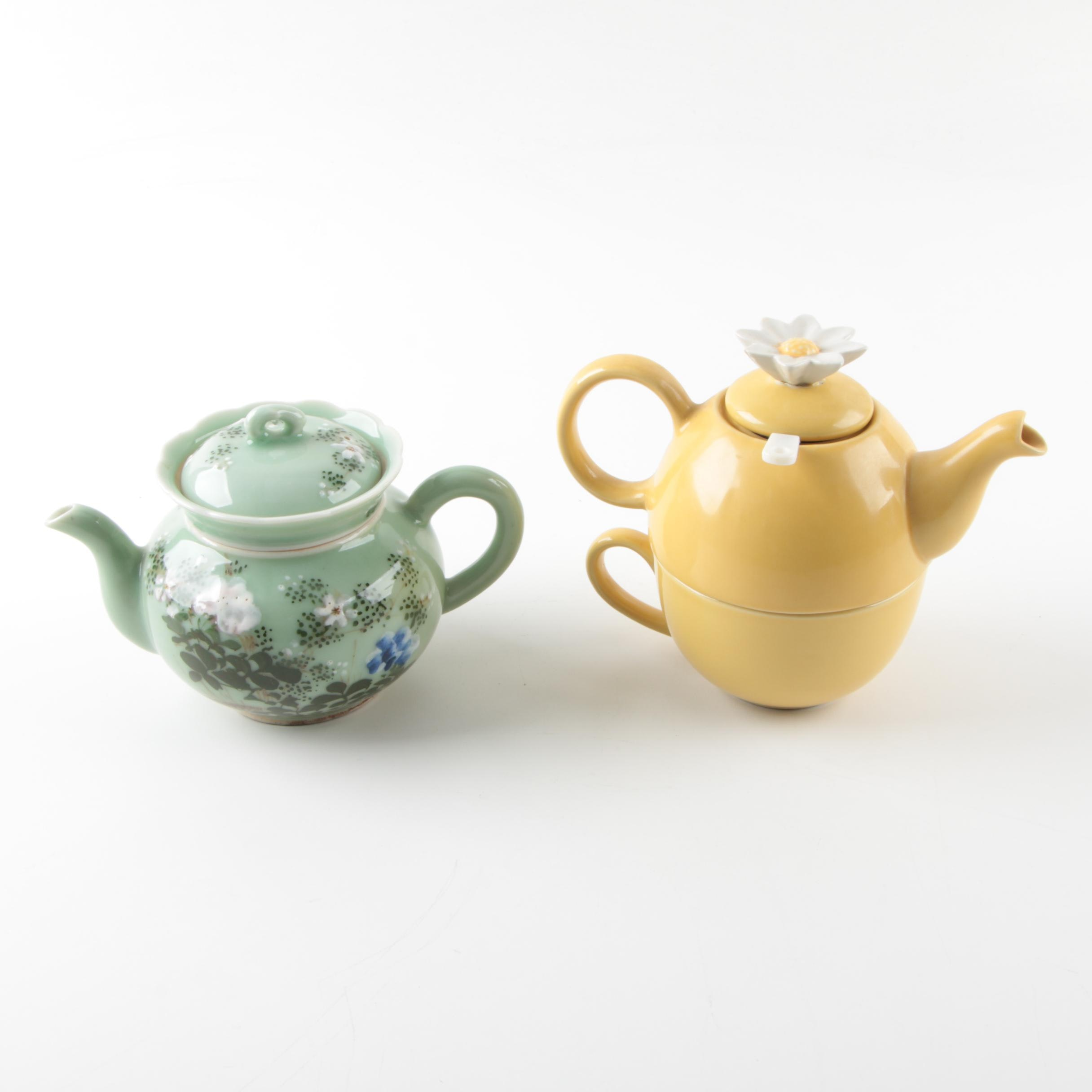 Floral Ceramic Teapot and Tea for One Set