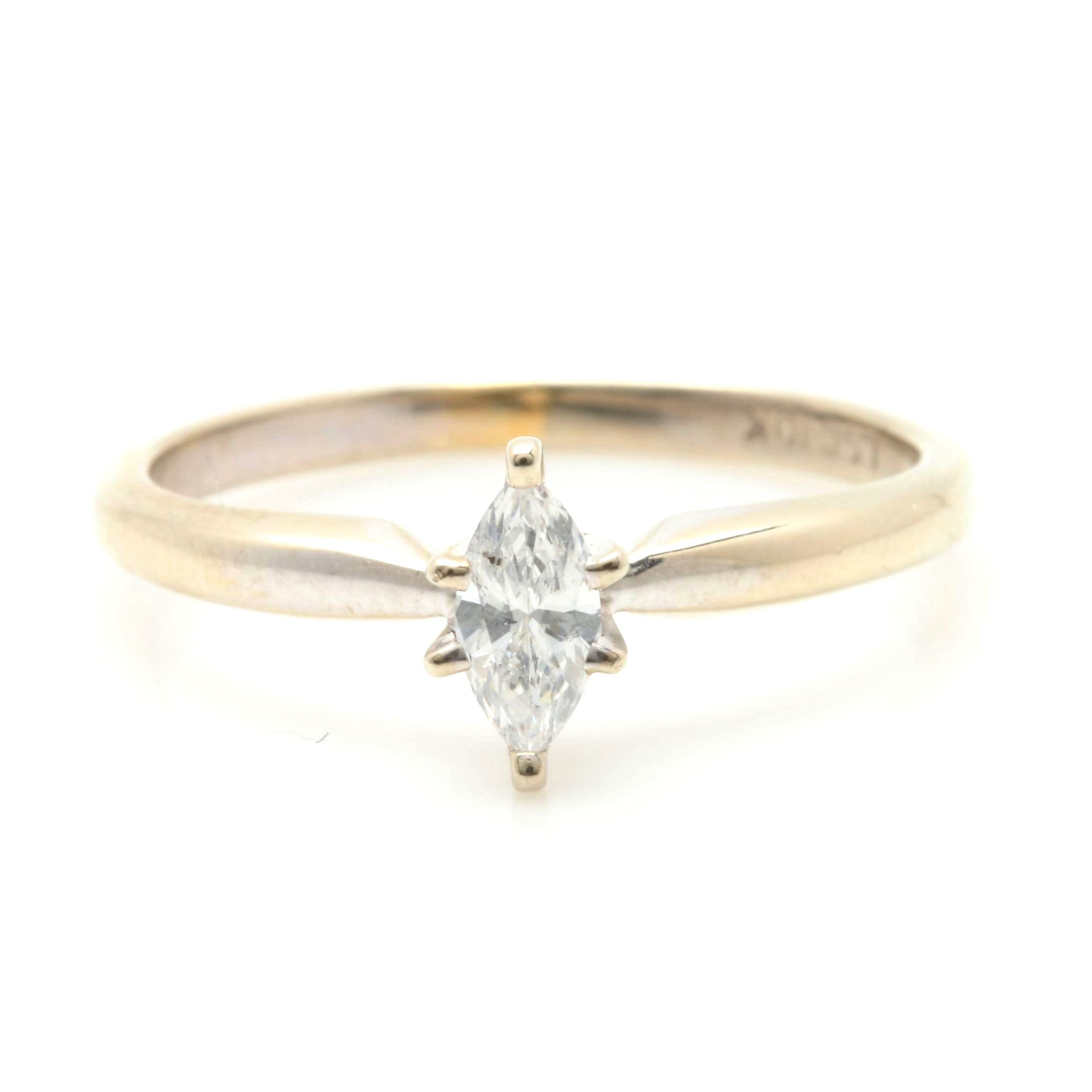 10K White Gold Diamond Solitaire Ring