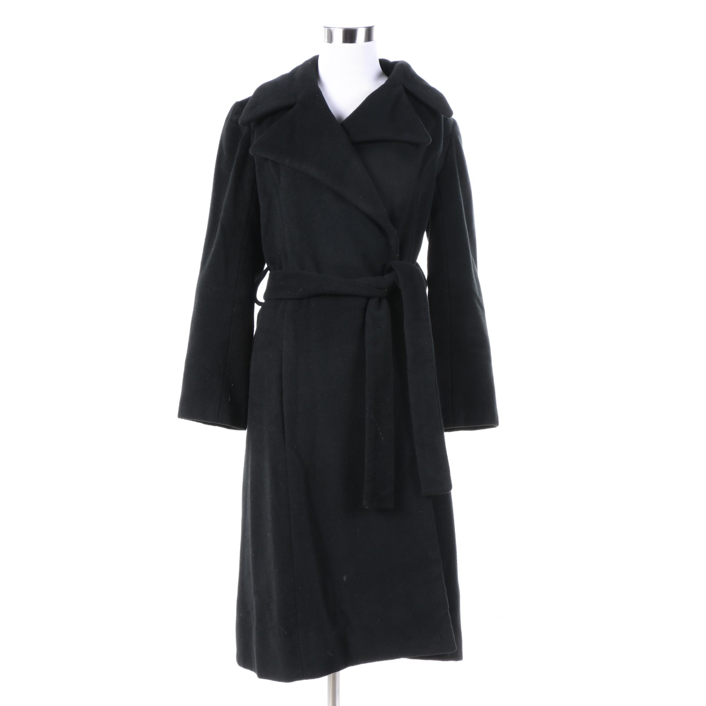 Women's Black Wool Coat with Notched Collar and Tie Belt
