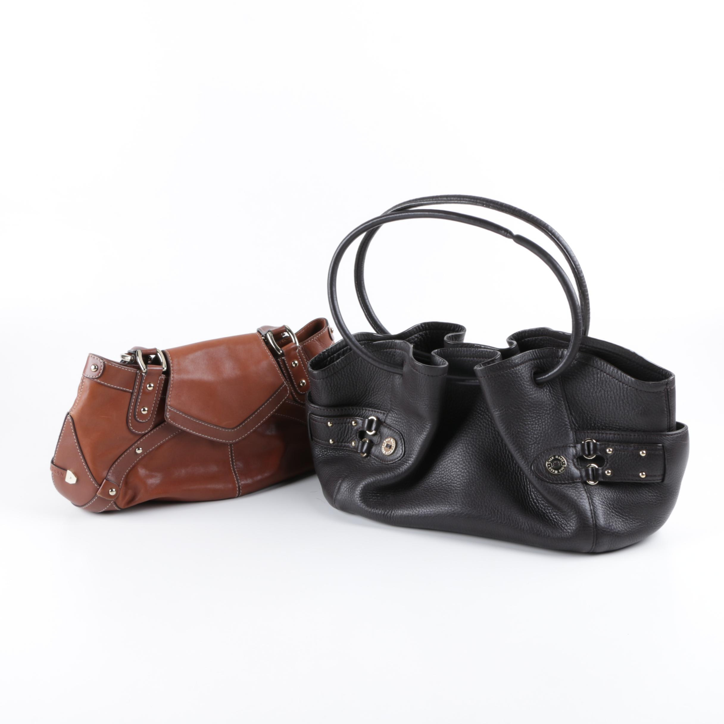 Cole Haan Paige and Village Classics Handbags in Brown and Black Leather