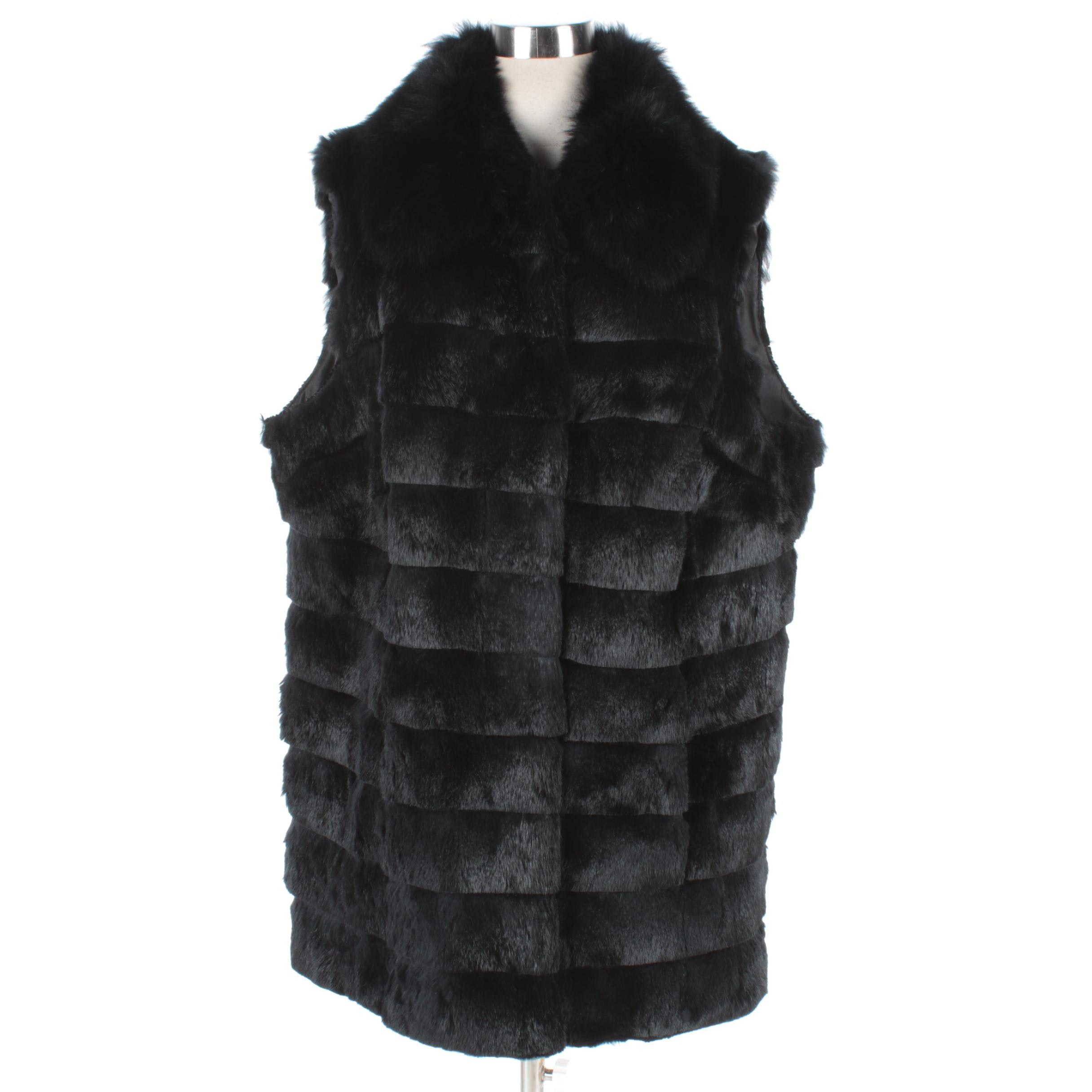 Women's Lafayette 148 New York Black Rabbit Fur Vest with Fox Fur Collar