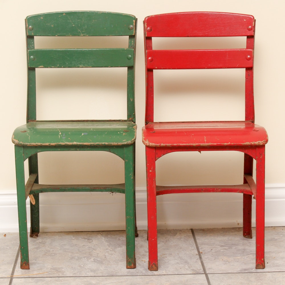 Vintage Red and Green Children's School Chairs