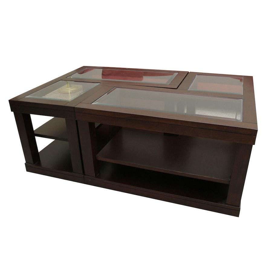 Contemporary Glass Top Modular Coffee Table : EBTH