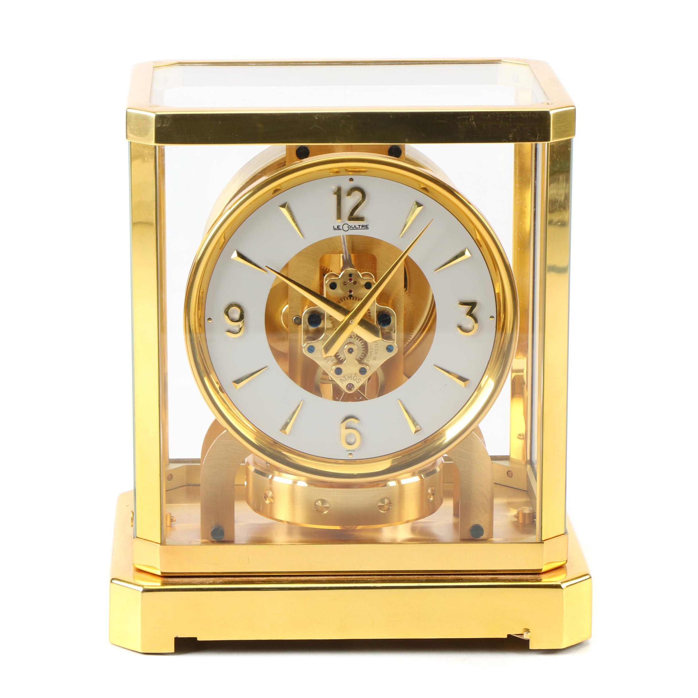 Jaeger-Lecoultre Gilt Brass and Glass Atmos Desk Clock