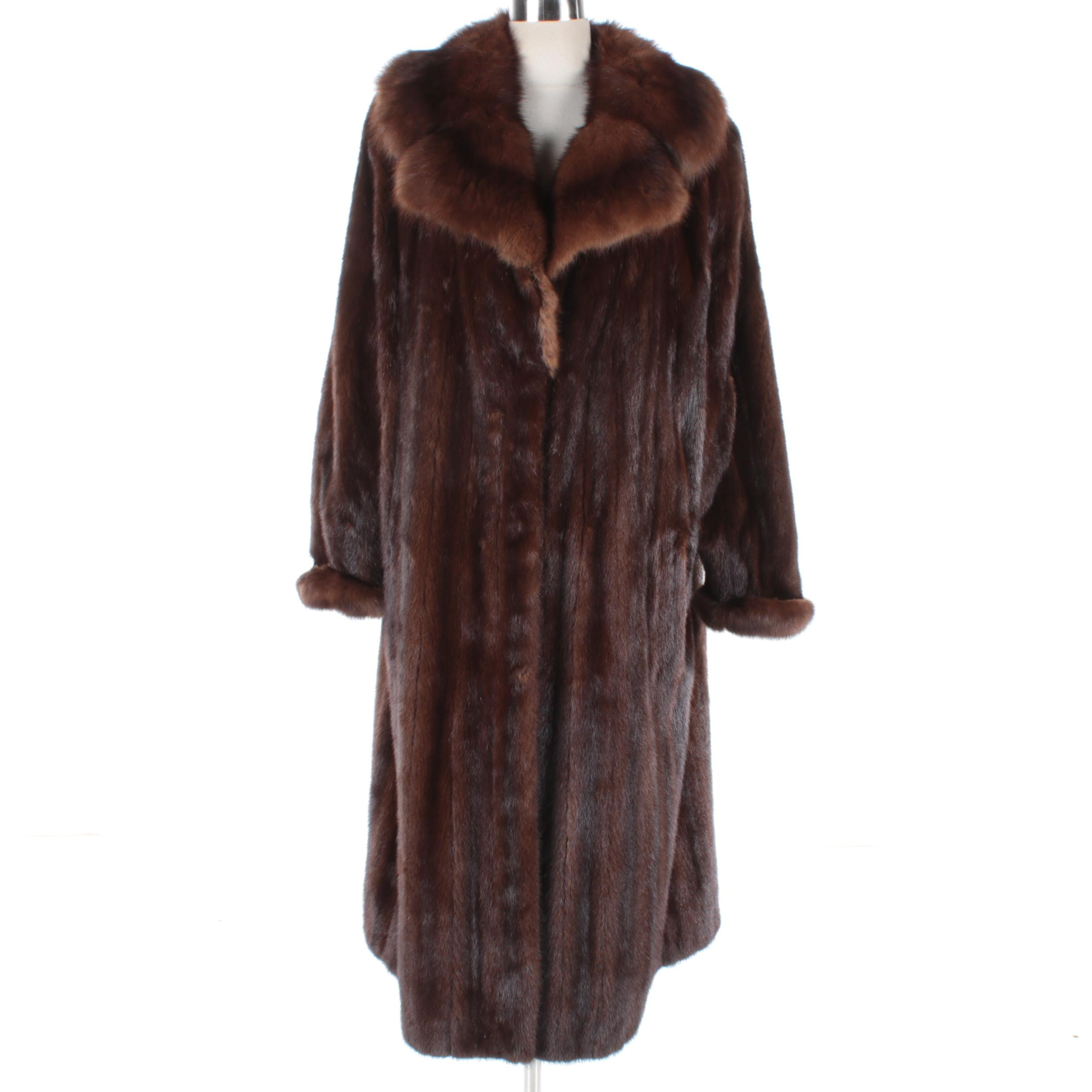 Women's Vintage Revillon Mahogany Mink Fur Coat with Marten Fur Collar and Cuffs