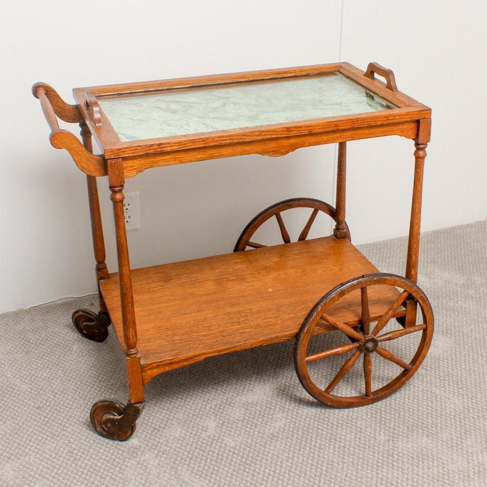 Vintage Oak Bar Cart with Glass Serving Tray