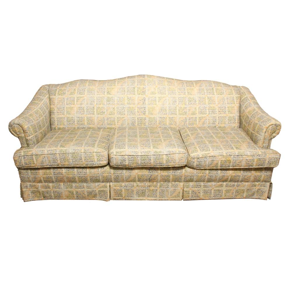 Camelback Sofa with Foliate Upholstery by Huntington House
