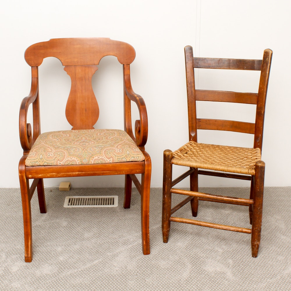 American Empire Style Armchair and Ladder-Back Chair