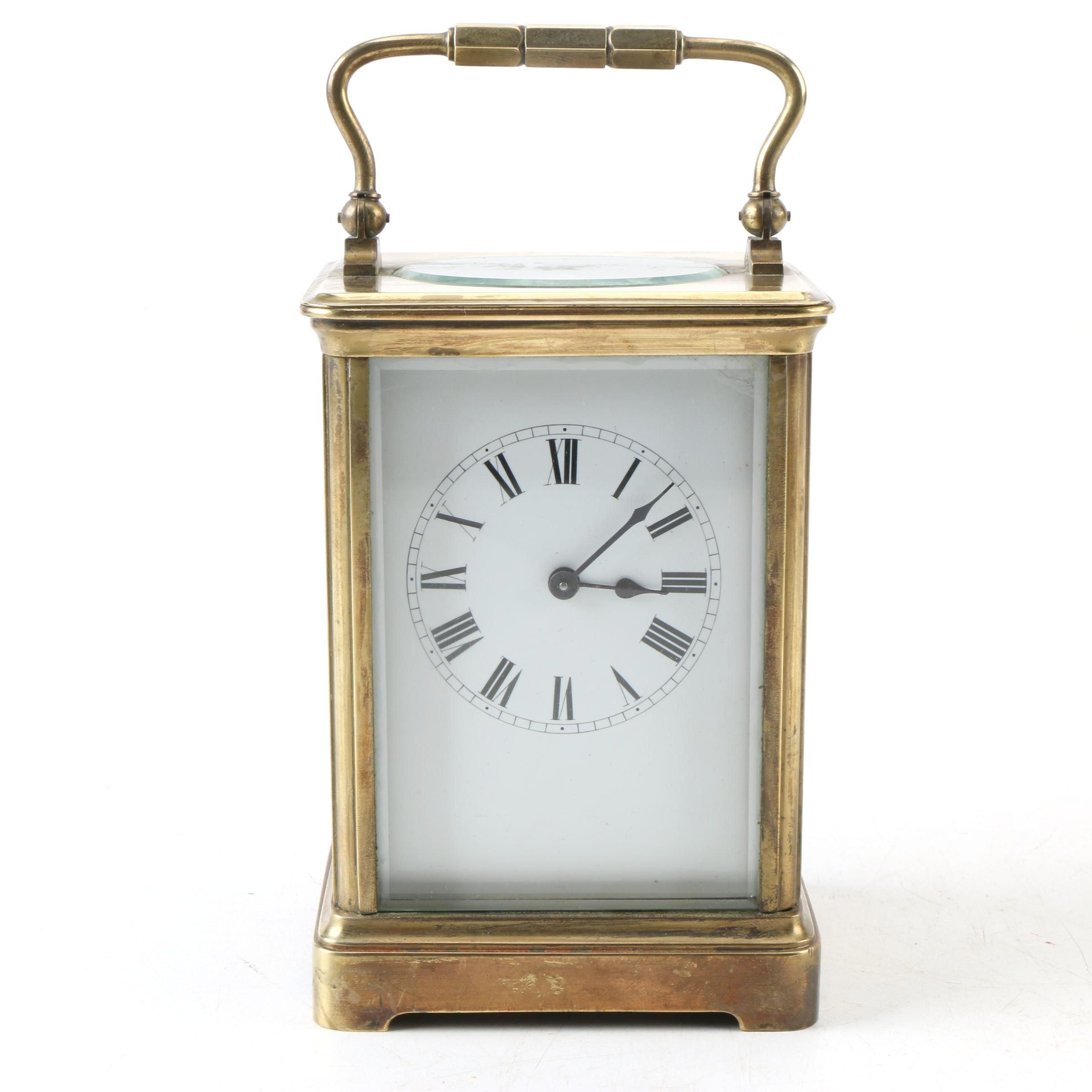 Brass Carriage Shelf Clock with Glass Panels