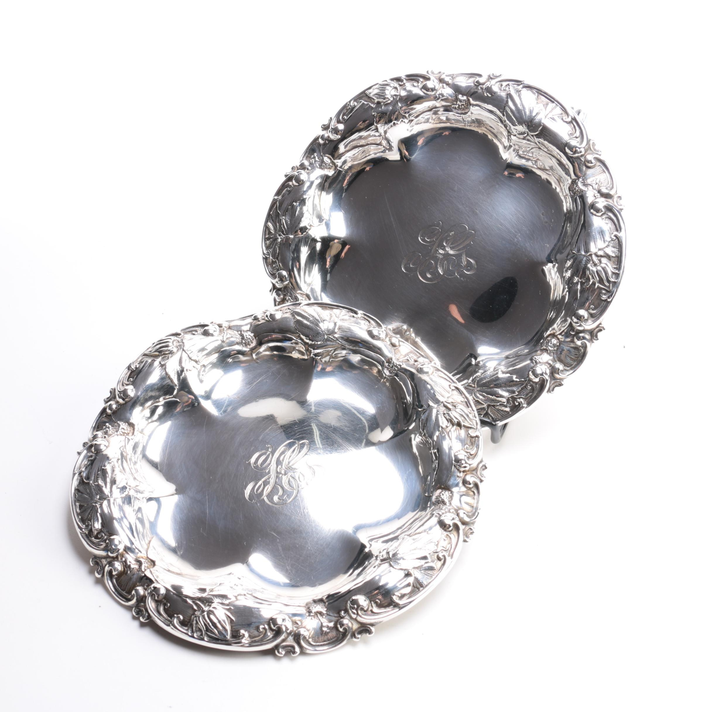 Scroll and Shell Sterling Silver Plates