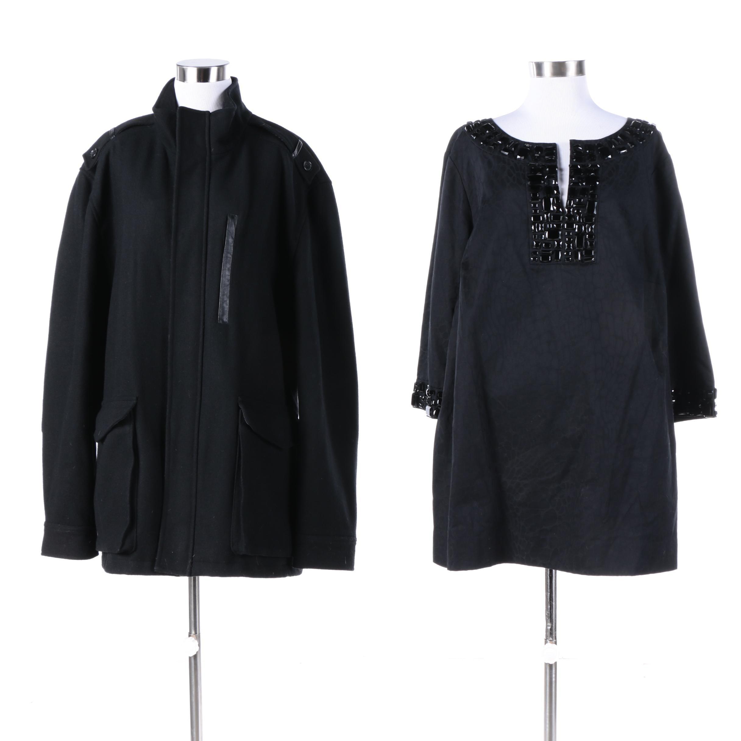 Michael Michael Kors Embellished Top and Cole Haan Black Wool Jacket